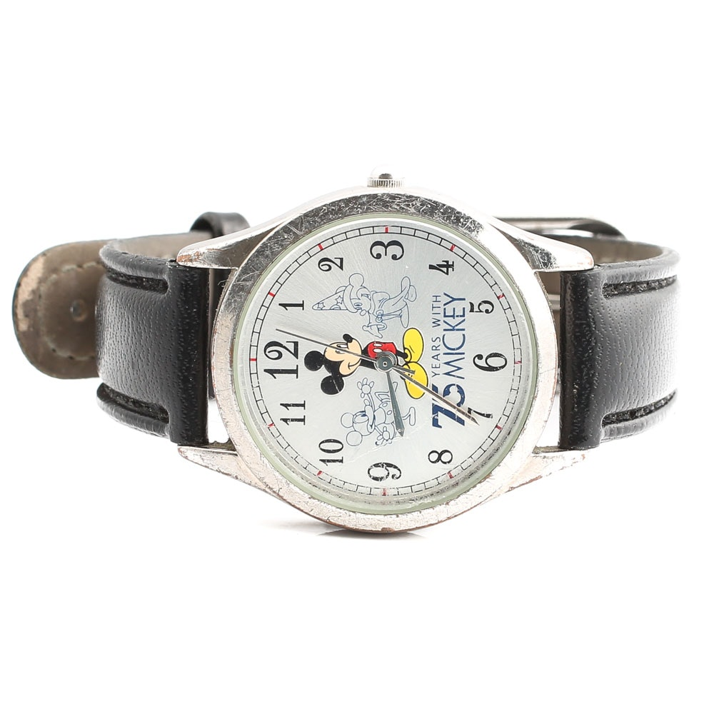 Disney 75th Anniversary Silver Tone Mickey Mouse Wristwatch