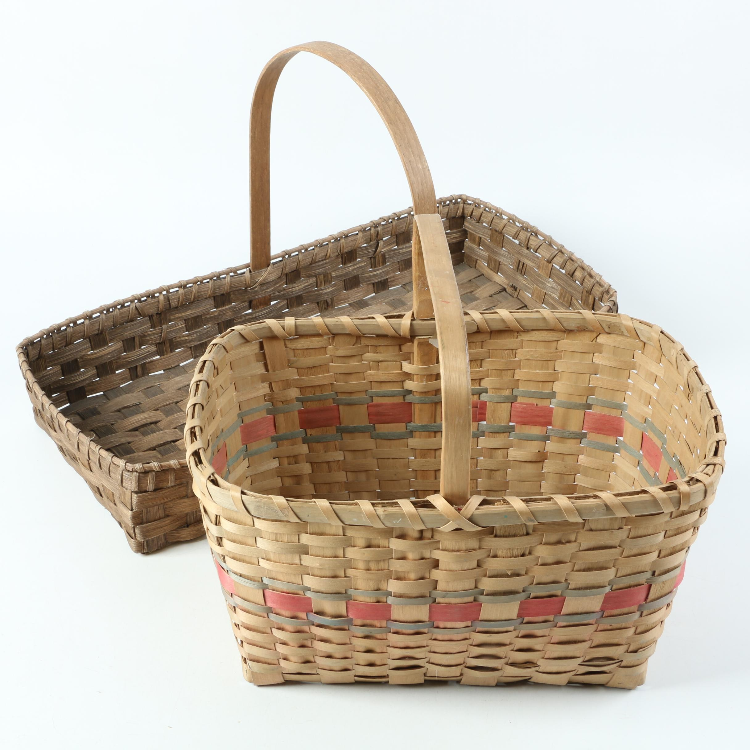 Vintage Hand Woven Splint Gathering Baskets Featuring Hala