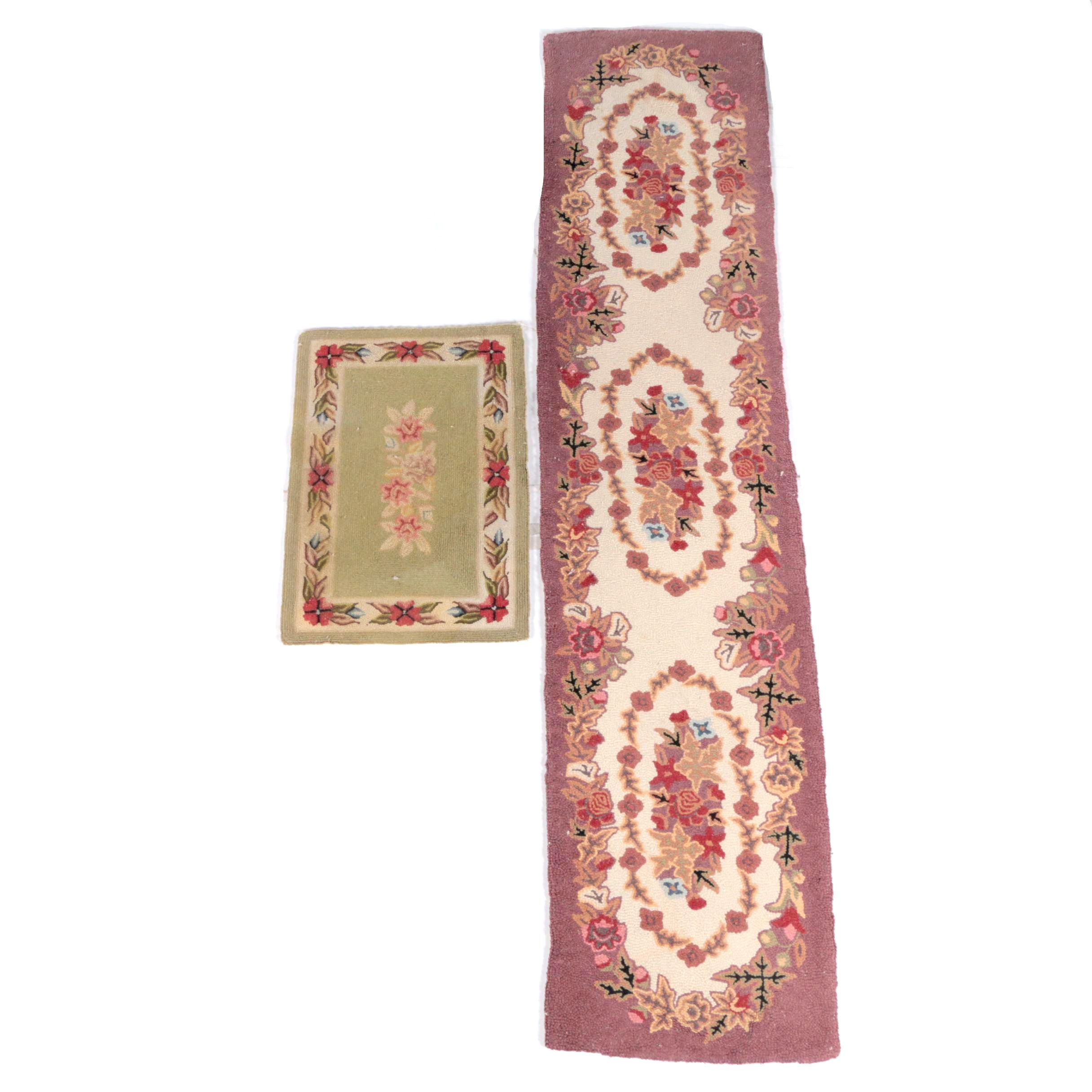 Hooked Floral Wool Carpet Runner and Accent Rug