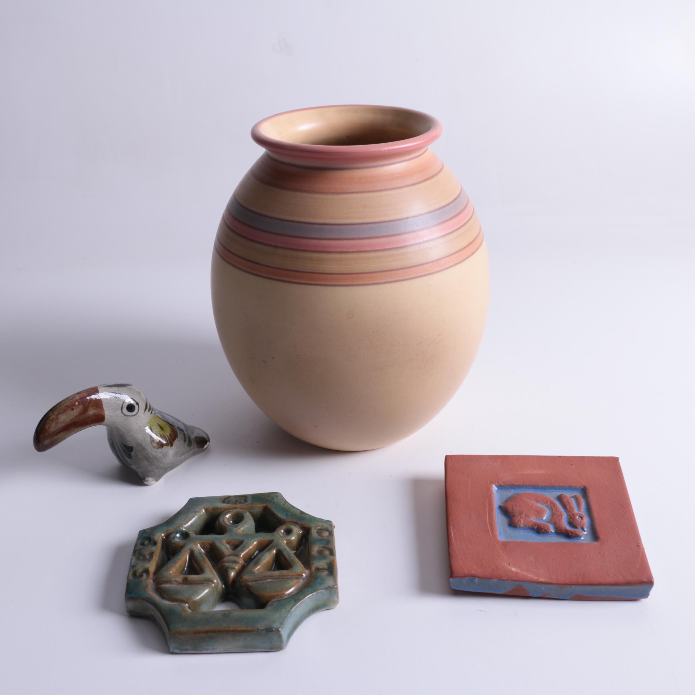 Terracotta Moravian Pottery Tiles