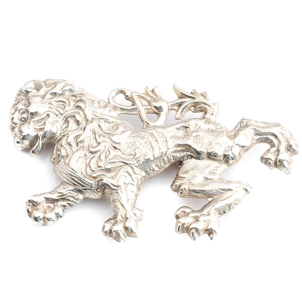 Vintage Lang Sterling Silver Lion Brooch