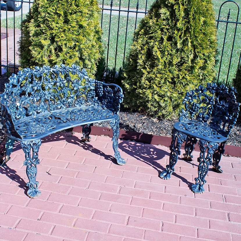 Black Wrought Iron Settee and Chair