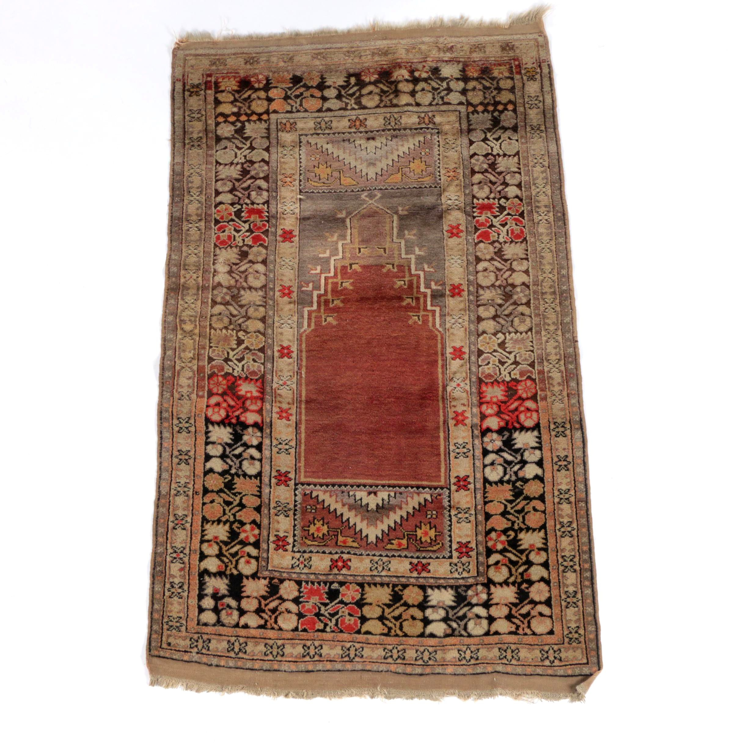 Semi Antique Hand-Knotted Anatolian Wool Prayer Rug