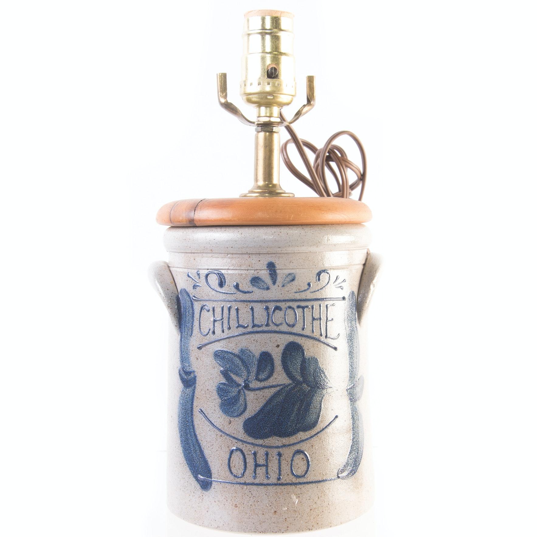 """Rockdale Stoneware """"Chillicothe Ohio"""" Lamp"""