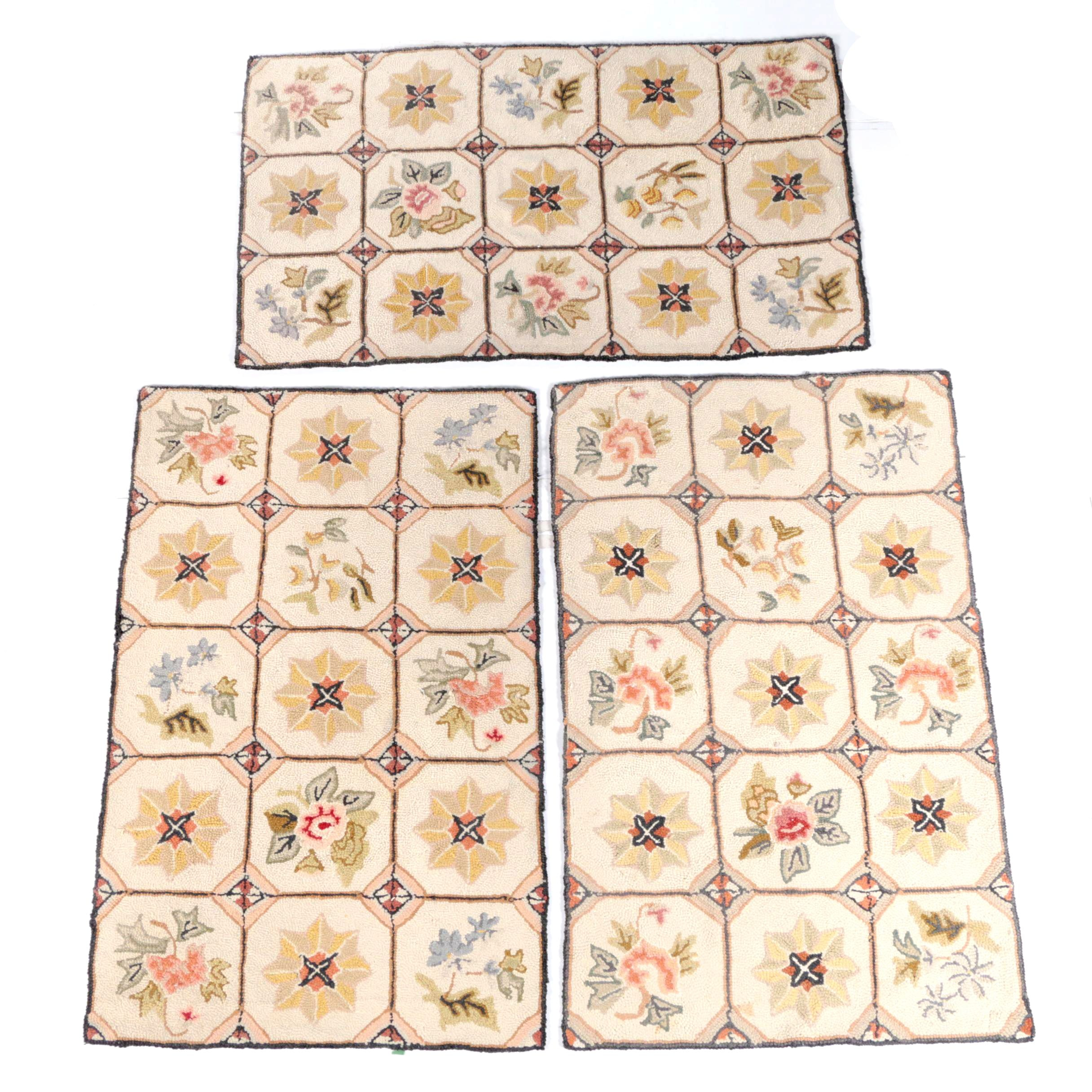 Hooked Floral Wool Area Rugs