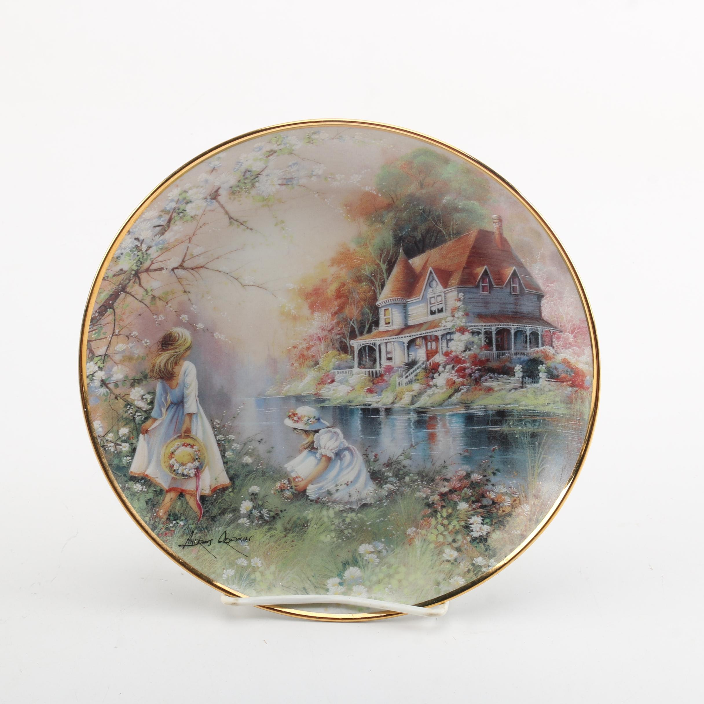 """Franklin Mint Andres Orpinas Limited Edition Plate """"Gathering Wildflowers"""""""