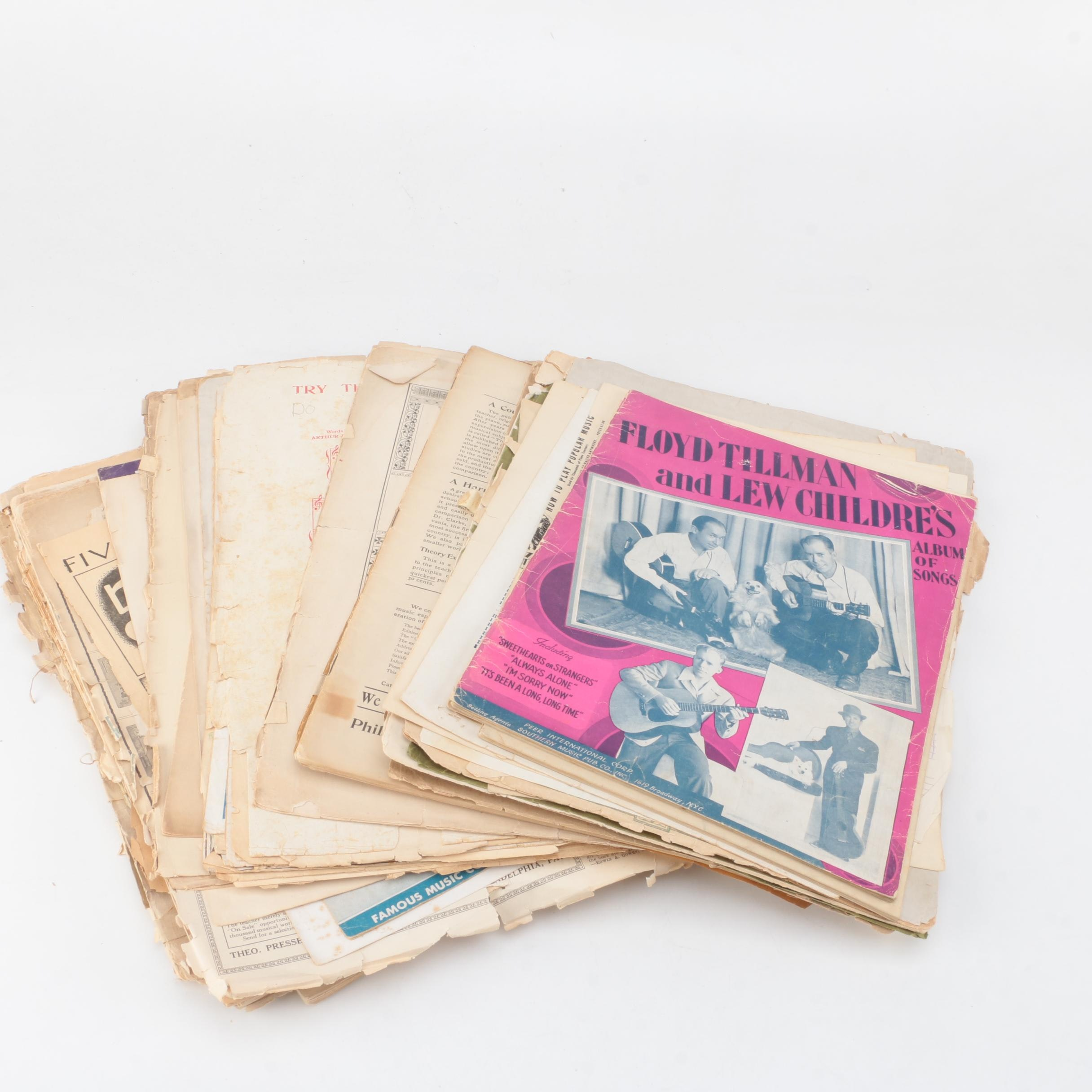"""Collection of Vintage Sheet Music Including """"Floyd Tillman and Lew Childre"""""""
