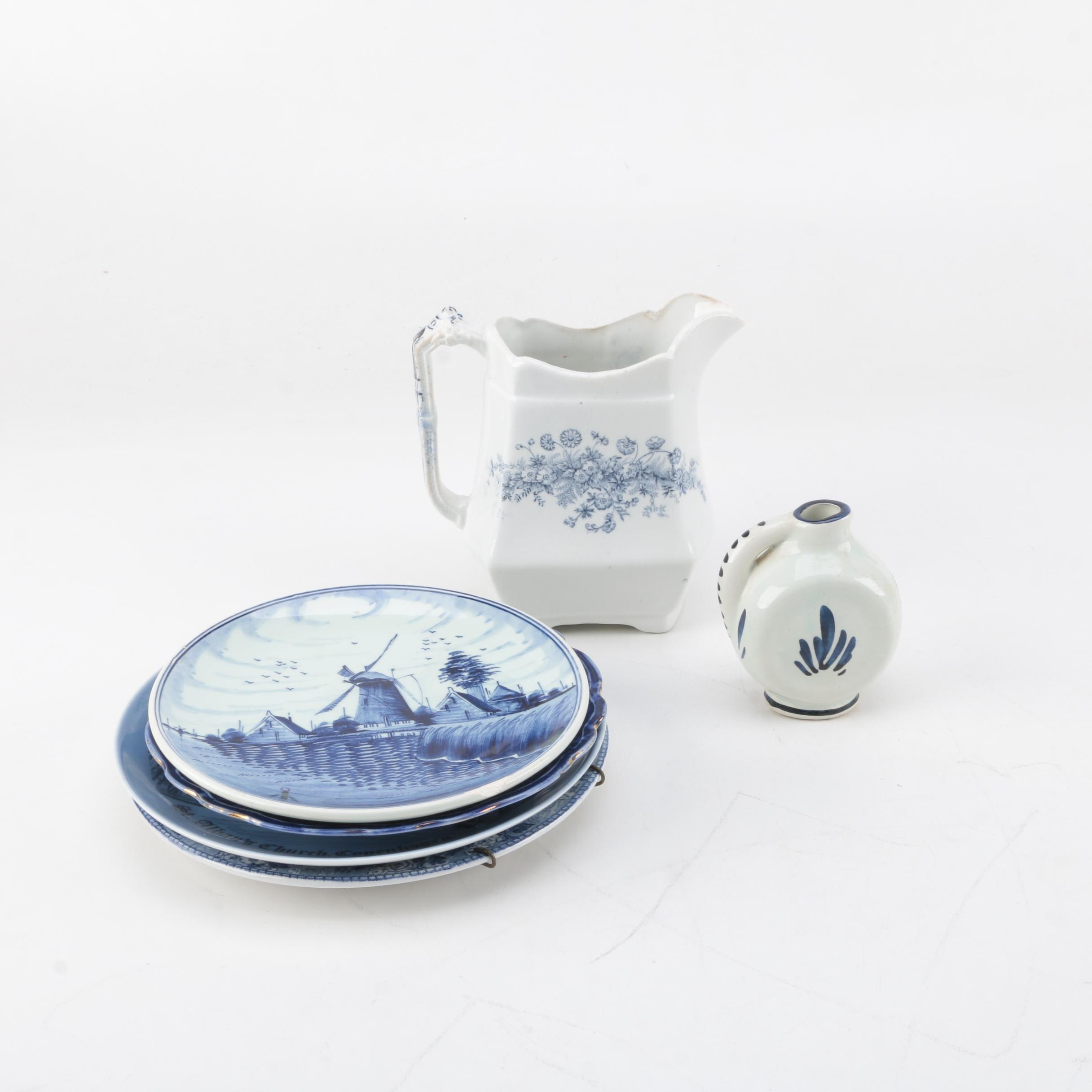 Ceramic and Porcelain Decorative Plates with Two Creamers