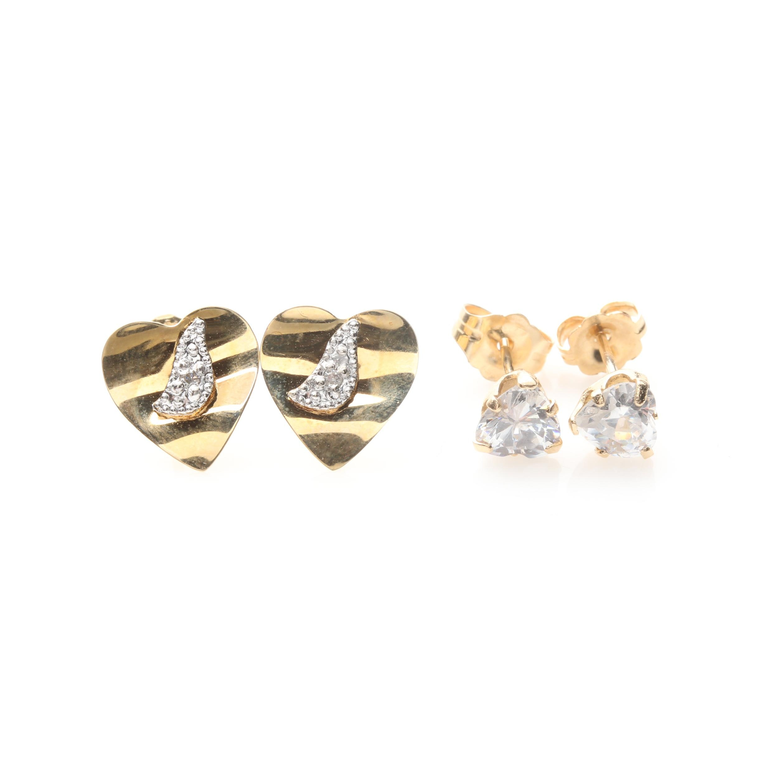 14K Yellow Gold Diamond and Cubic Zirconia Stud Earring Selection