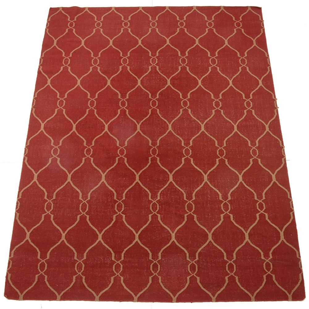 Hand-Woven Area Rug in Dark Red