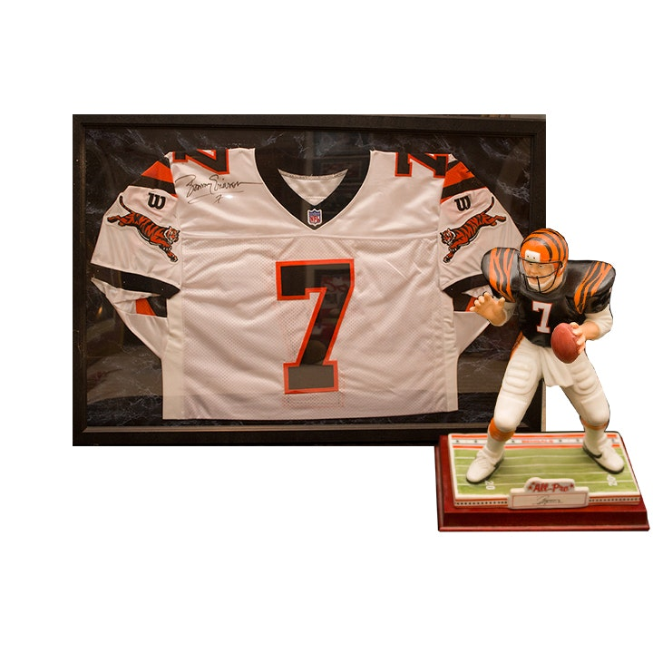 Boomer Esiason Signed Bengals Football Jersey and Limited Edition Figurine