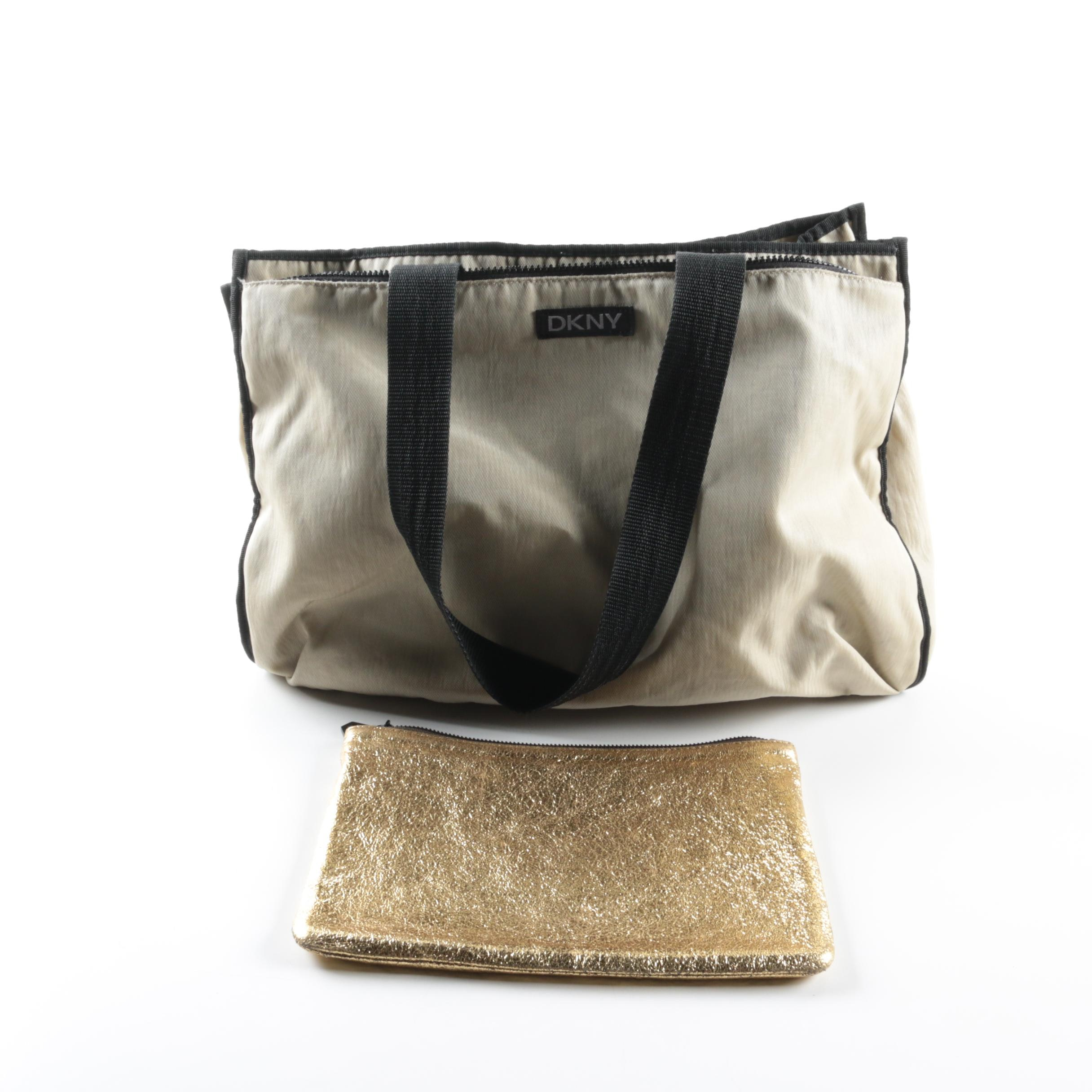 DKNY Nylon Tote Bag and Marc Jacobs Gold Metallic Leather Pouch