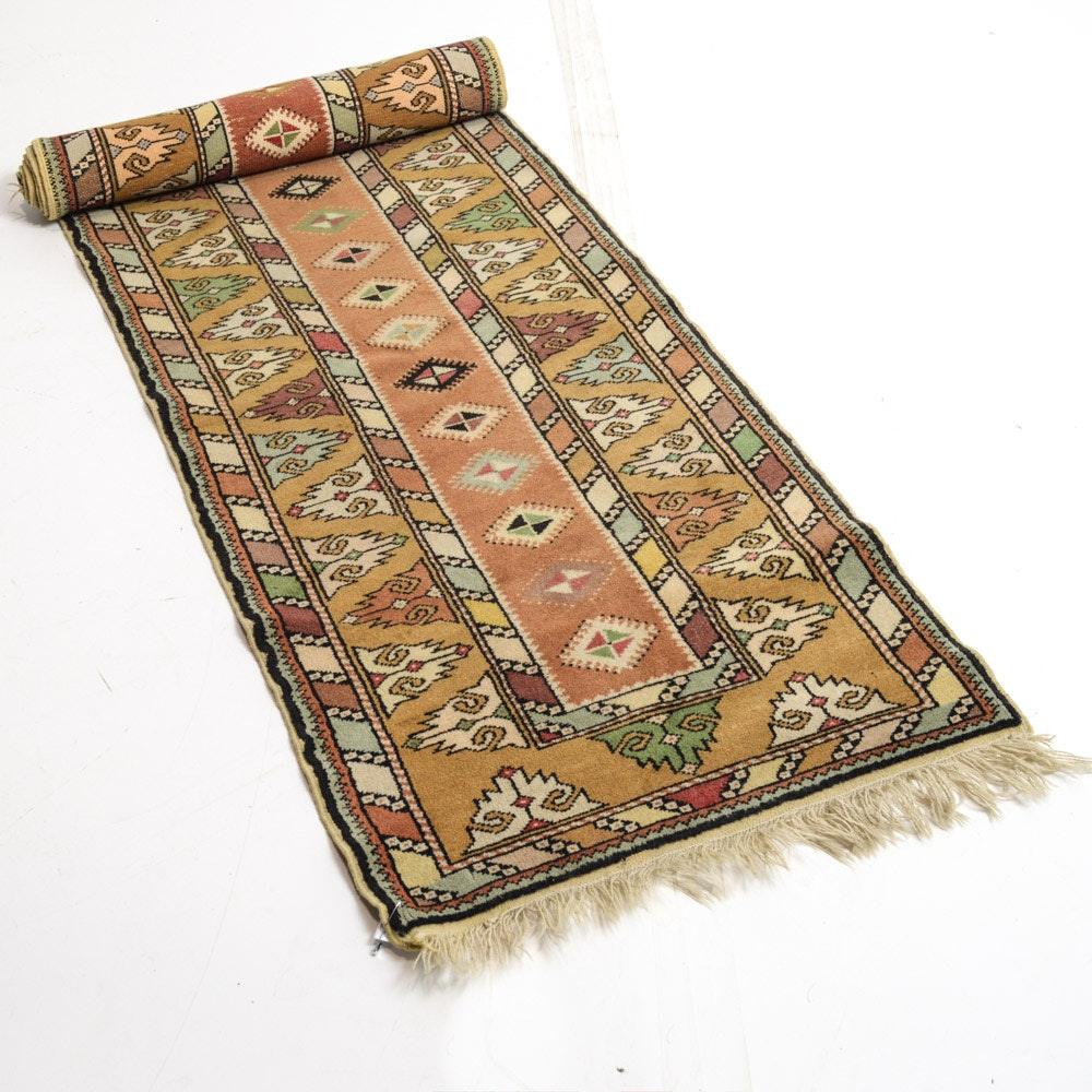 Vintage Hand-Knotted Turkish Milas Runner