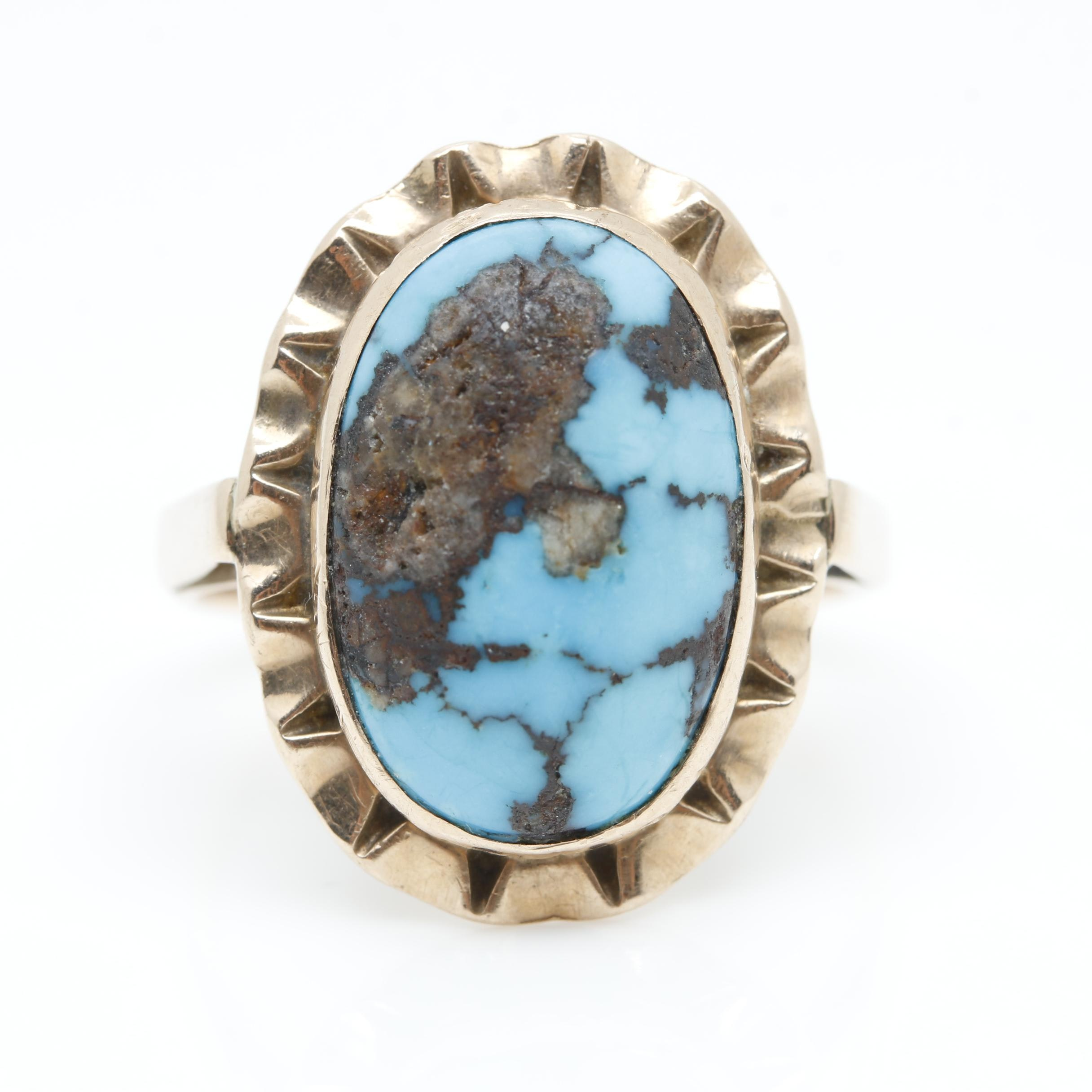 10K Yellow Gold Turquoise Ring