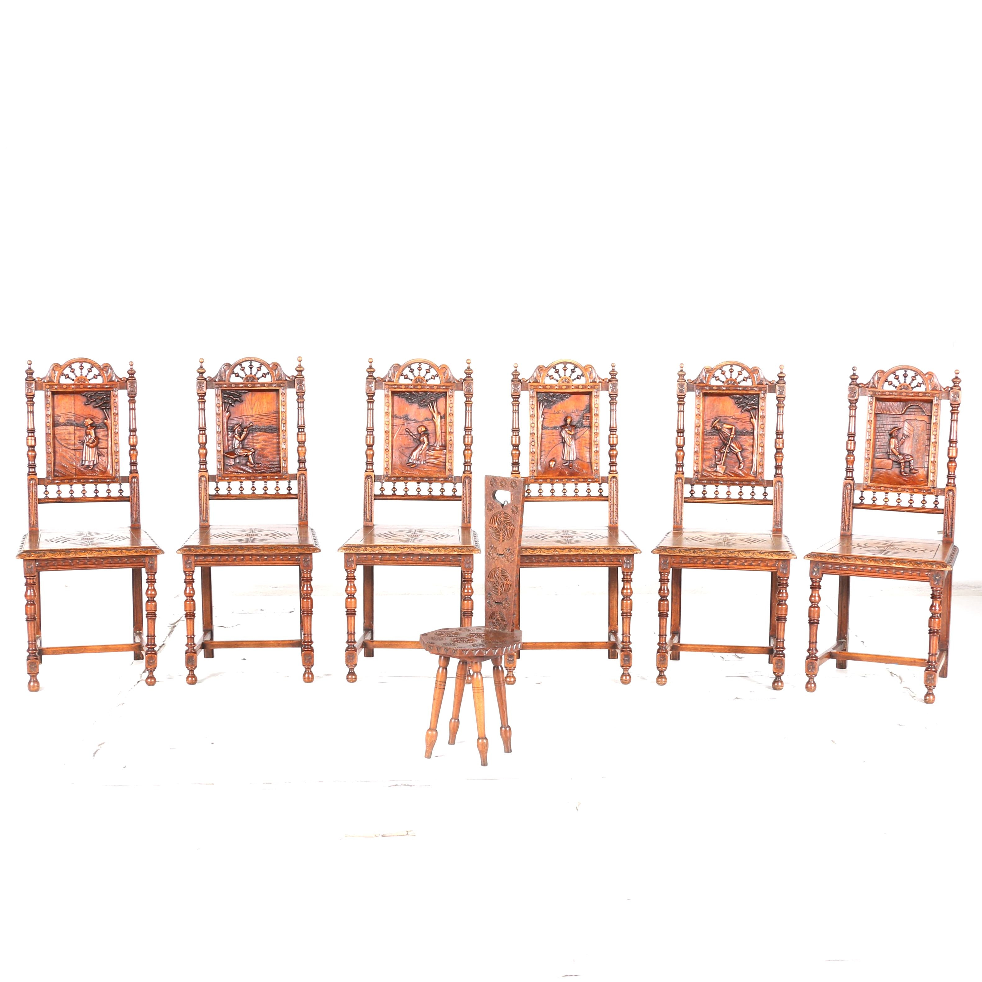Set of Six Western European Influenced Carved Oak Side Chairs