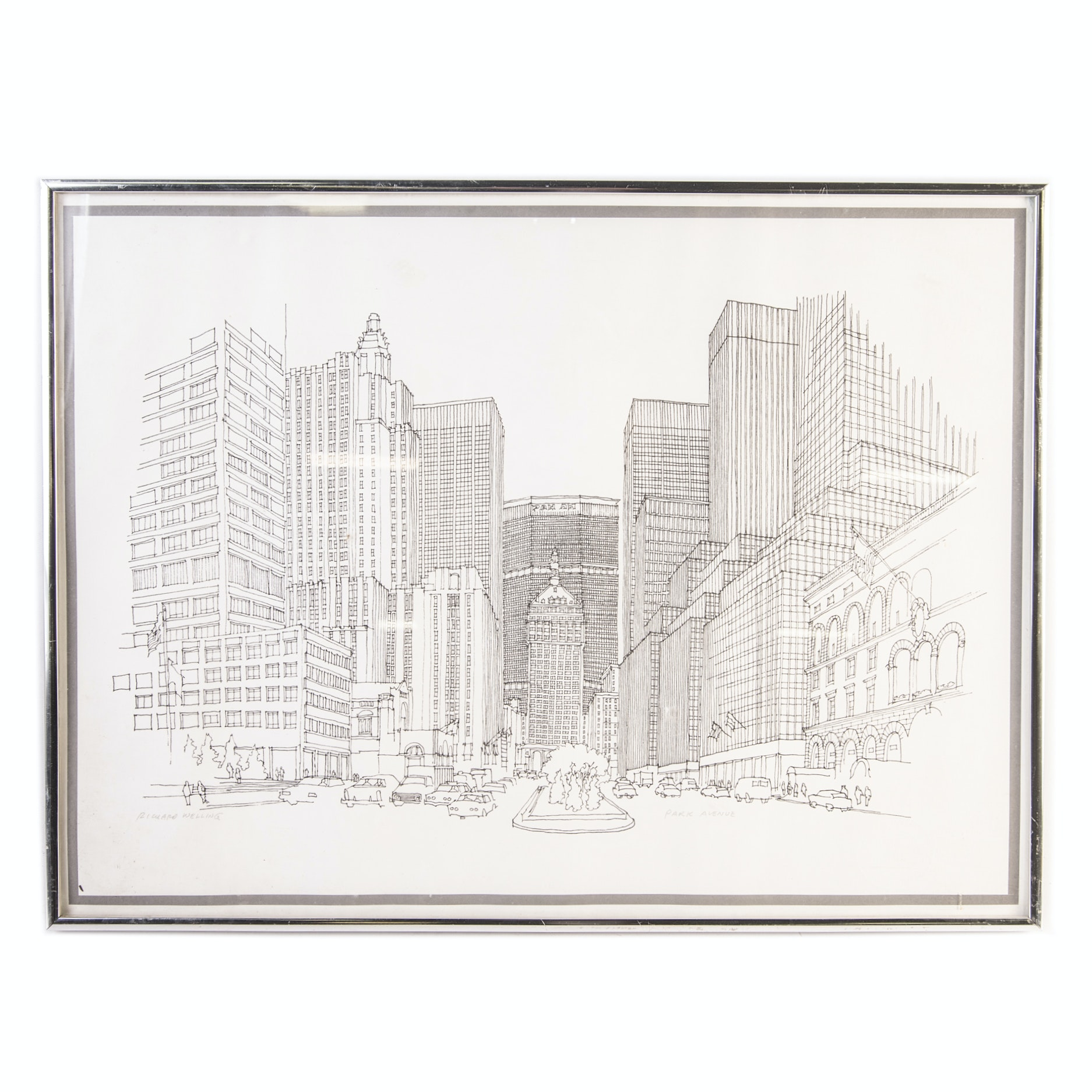 """Richard Welling Ink on Paper Drawing """"Park Avenue"""""""