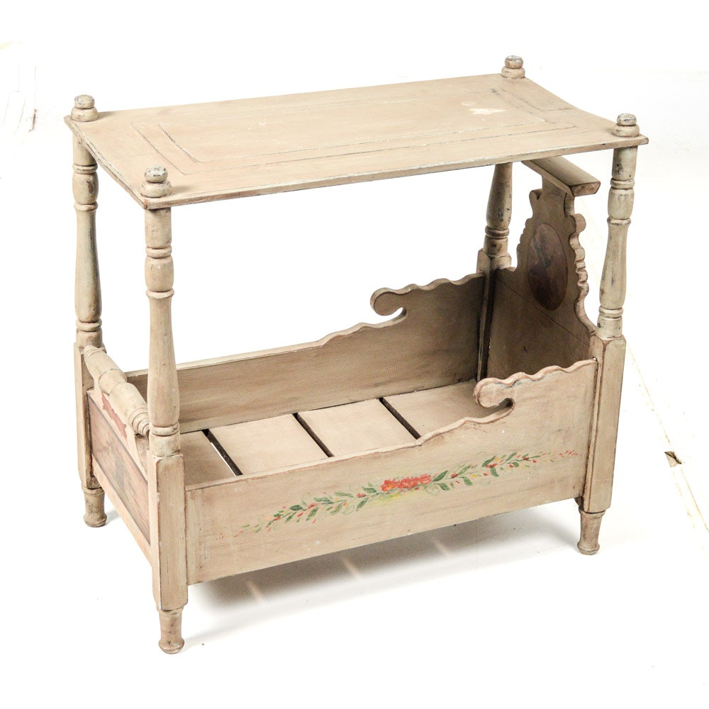 "Vintage Hand Painted ""Pennsylvania Dutch"" Style Wooden Cradle"