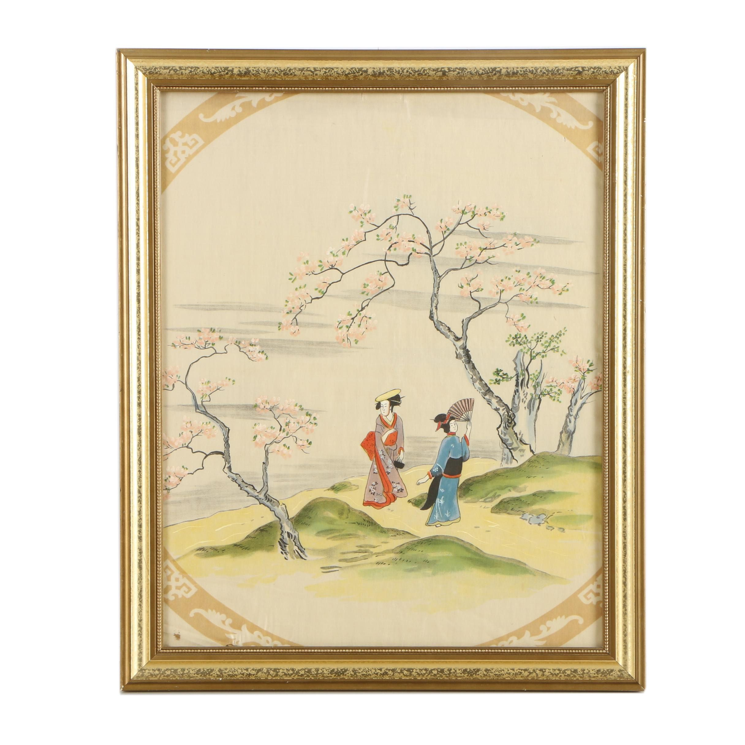 Japanese Gouache Painting on Silk