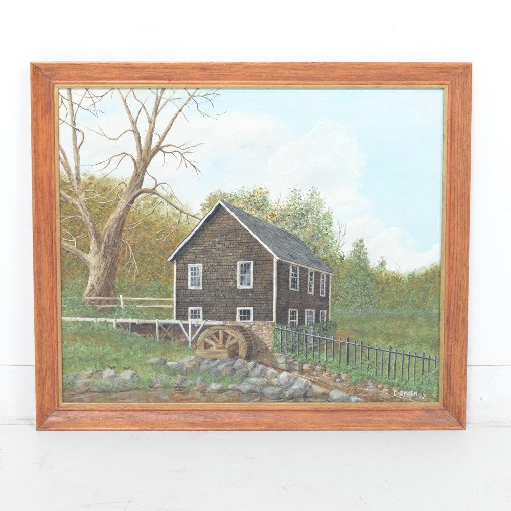 "1992 David Smith Oil Painting on Board ""Stony Brook Mill"""