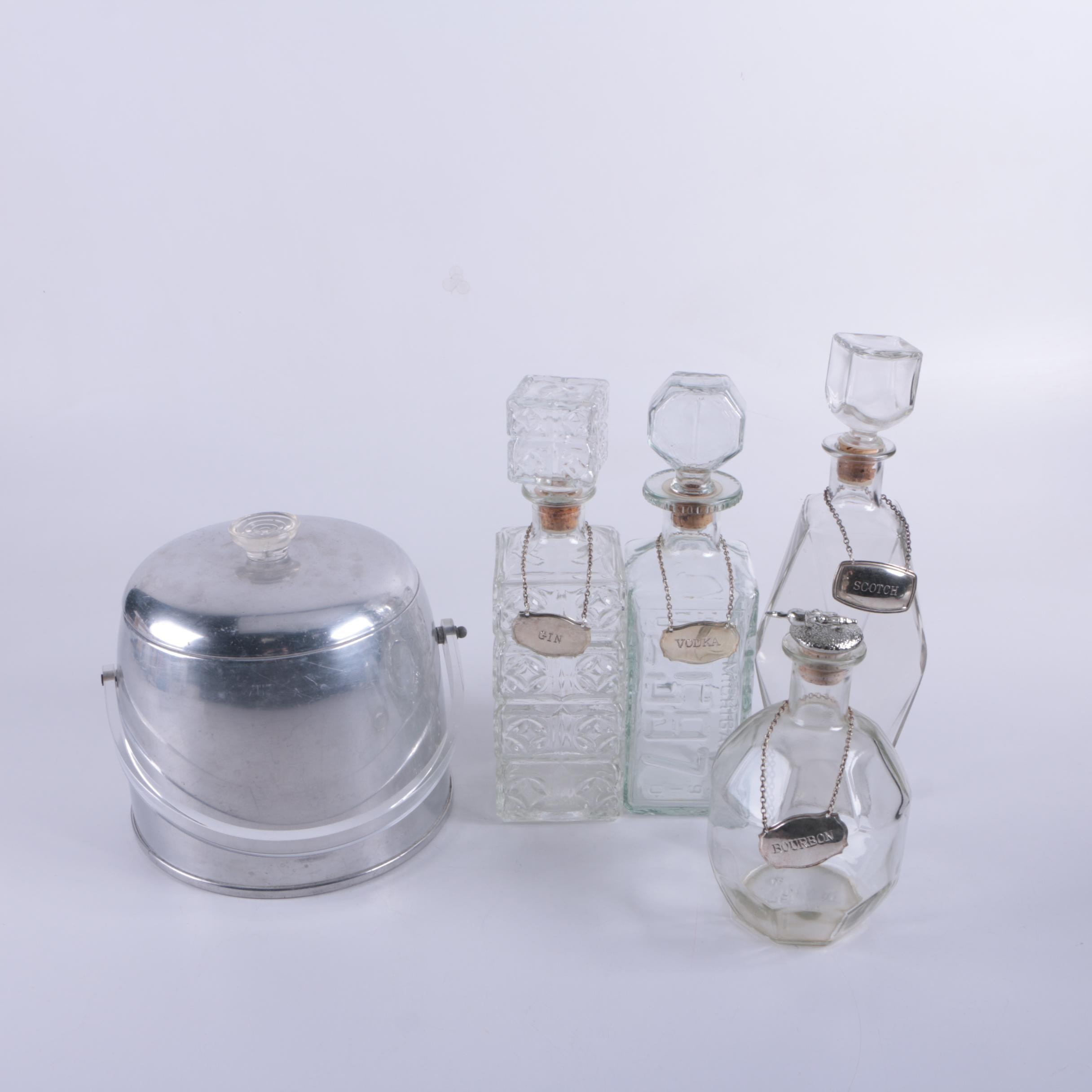 Glass Decanters and Metal Ice Bucket