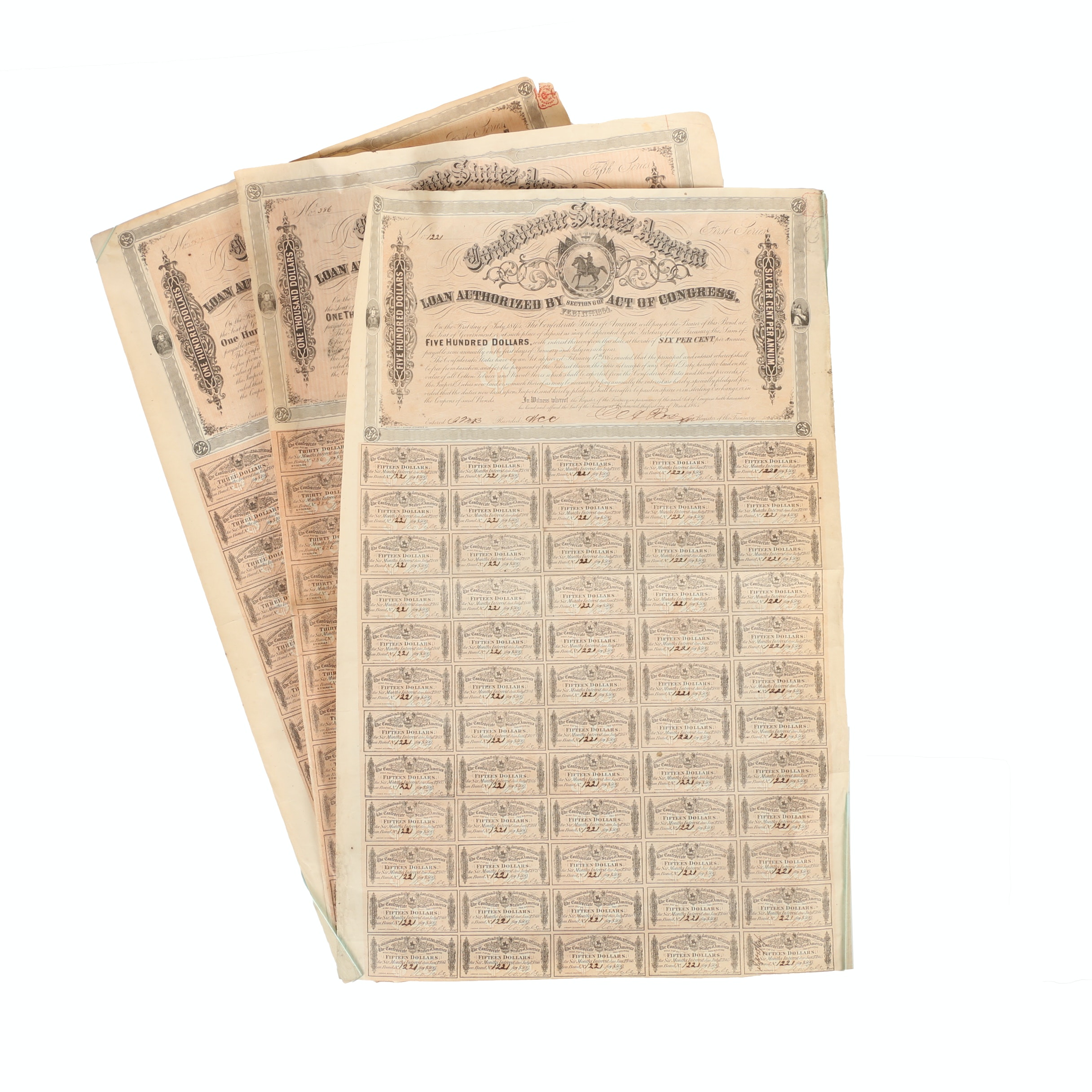 1864 Confederate States of America 1000, 500 and 100 Dollar Bonds