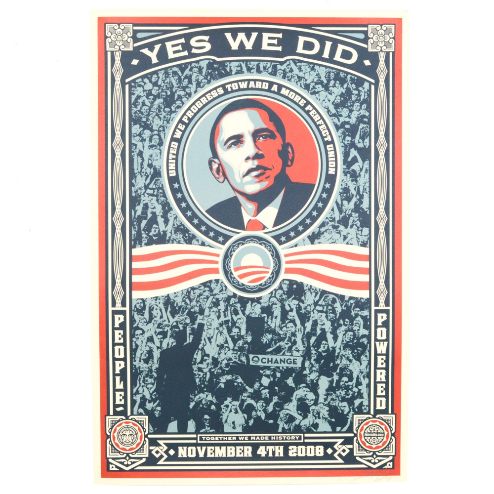 "Shepard Fairey Signed 2008 Open Edition Offset Poster ""Yes We Did"""
