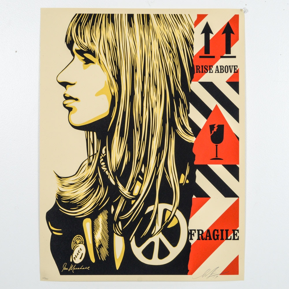 "Shepard Fairey Signed 2017 Limited Edition Serigraph ""Fragile Piece"""