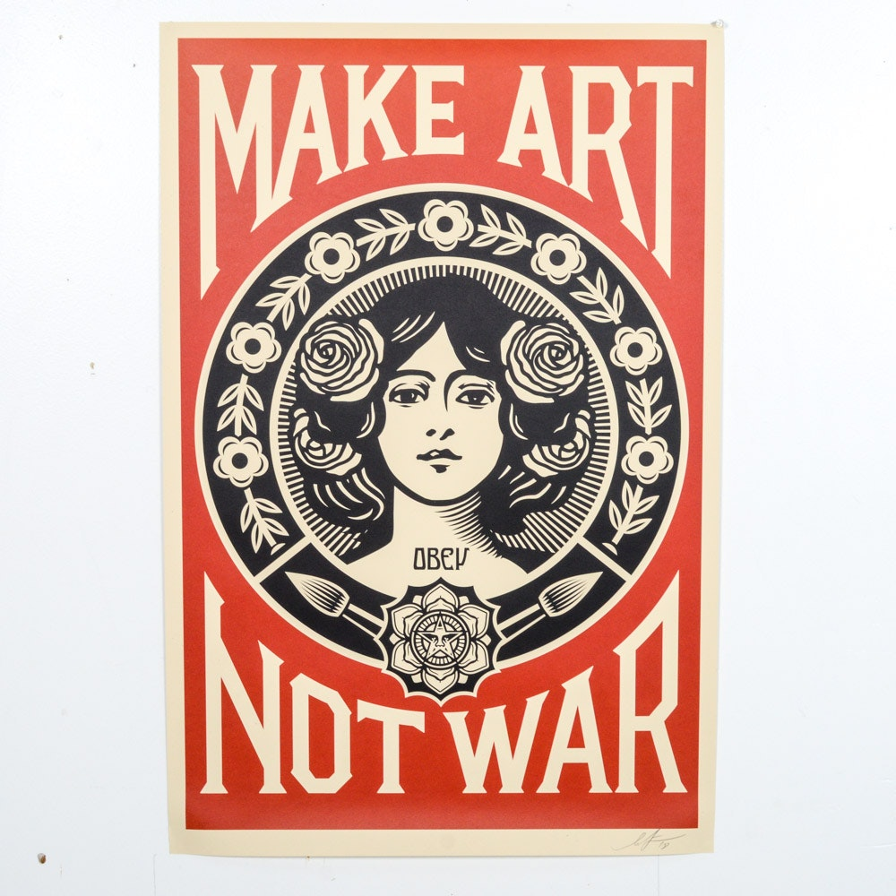 "Shepard Fairey Signed 2018 Open Edition Offset Poster ""Make Art Not War"""