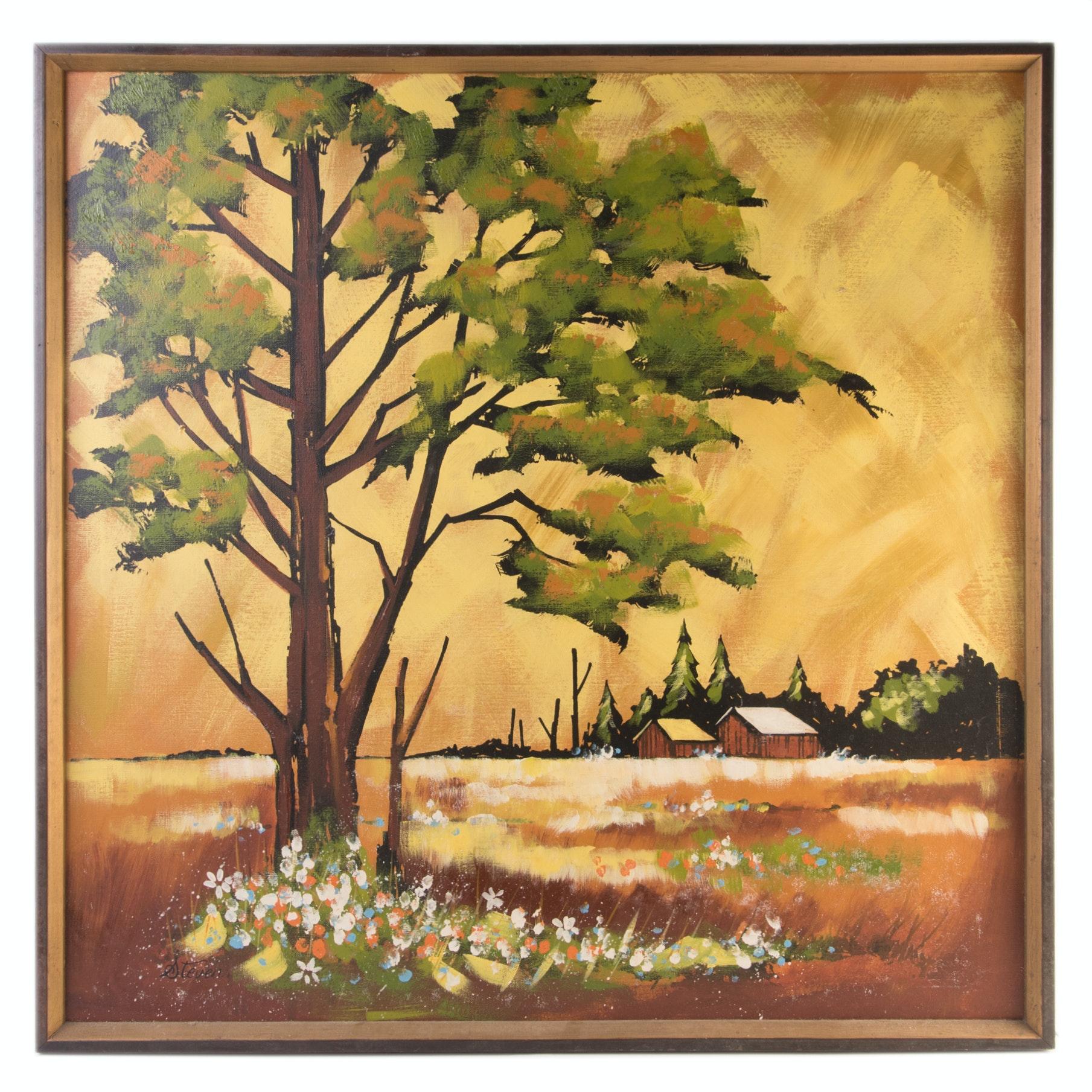 Signed Large Acrylic on Canvas Landscape