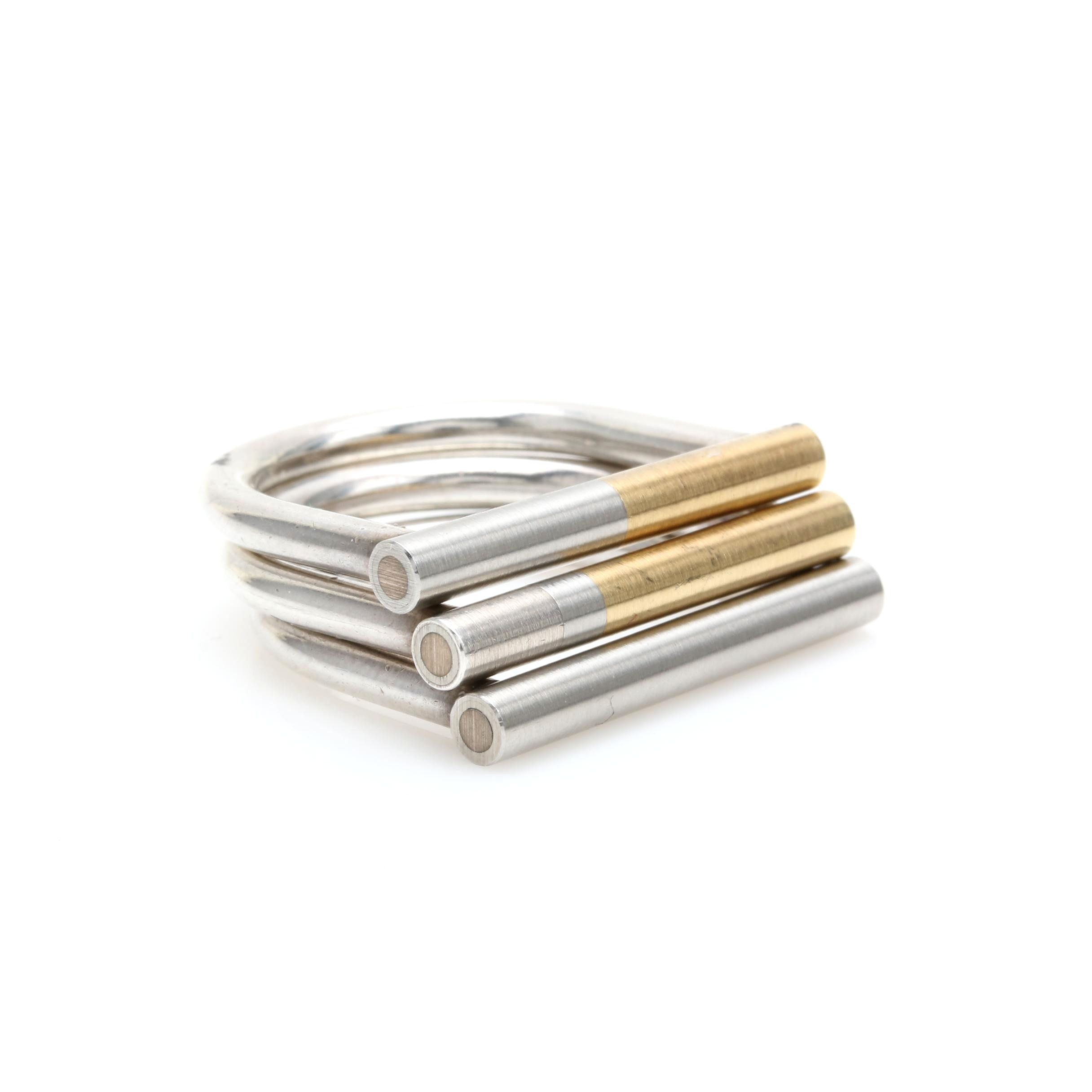 Sterling Silver, 18K Gold and Iron Stacking Rings