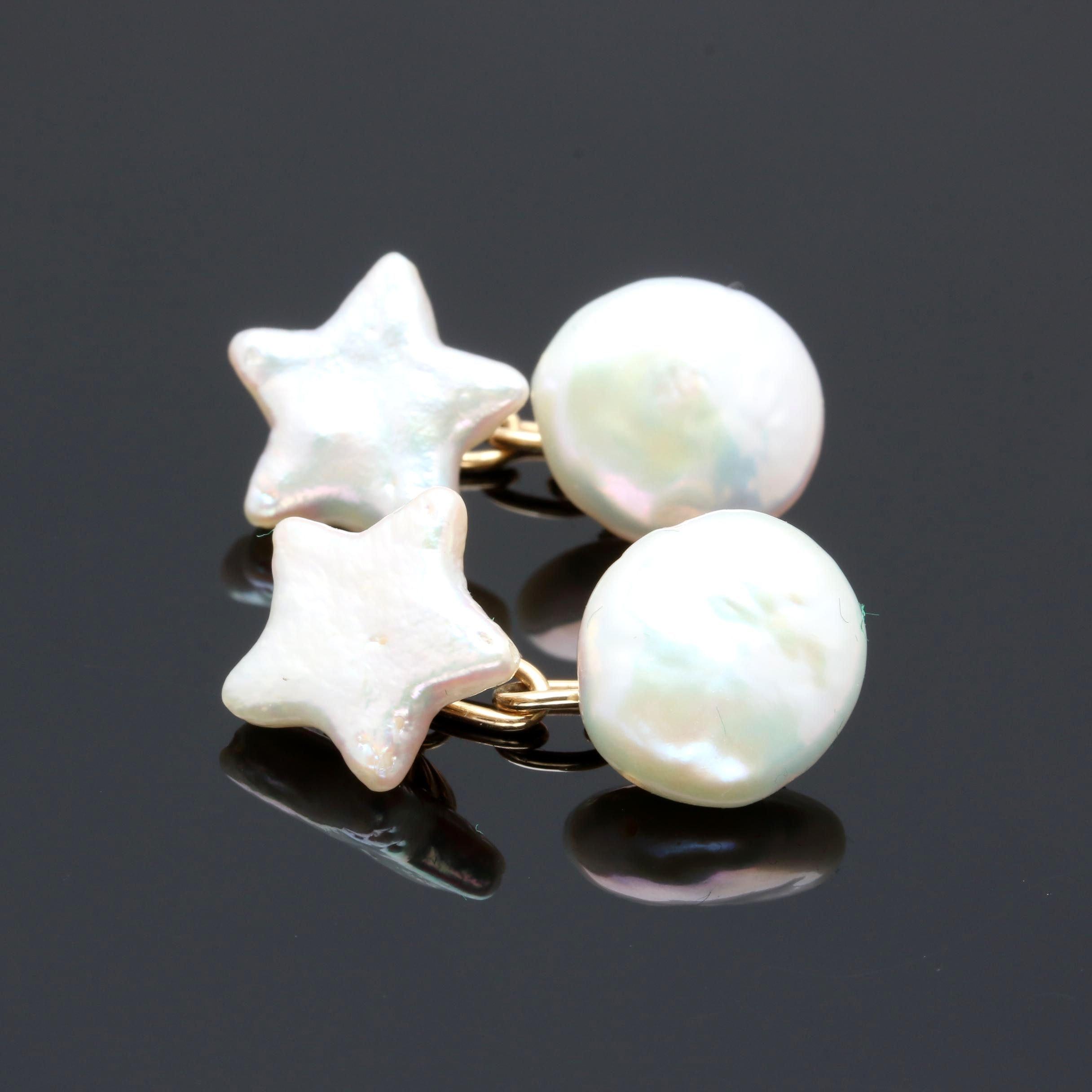 14K Yellow Gold Cultured Pearl Cufflinks