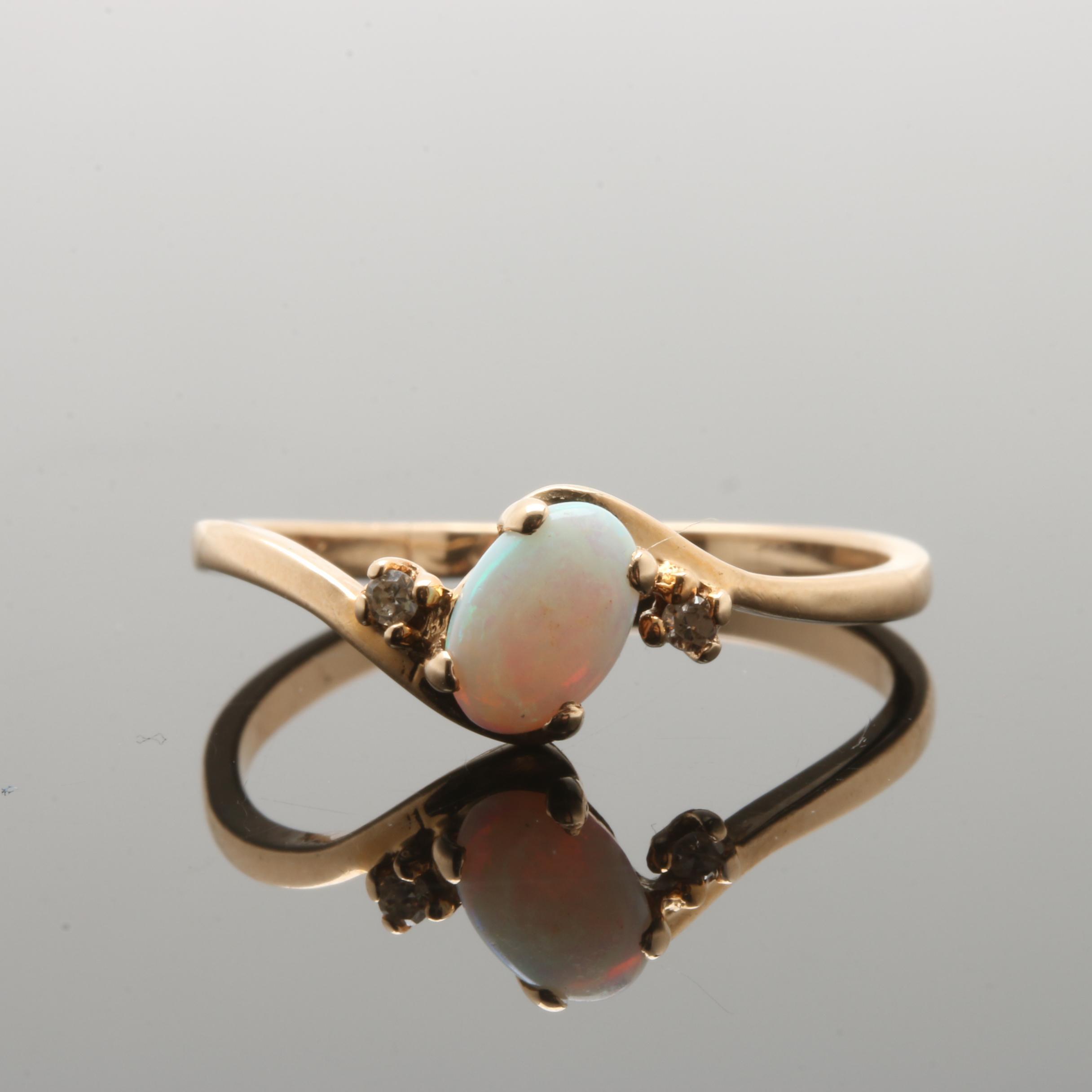 10K Yellow Gold Opal Diamond Ring