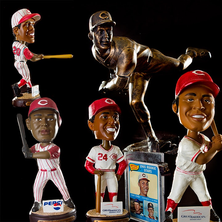 Reds Bobbleheads, Joe Nuxhall Figurine and 1965 Rookie Stars Topps Baseball Card