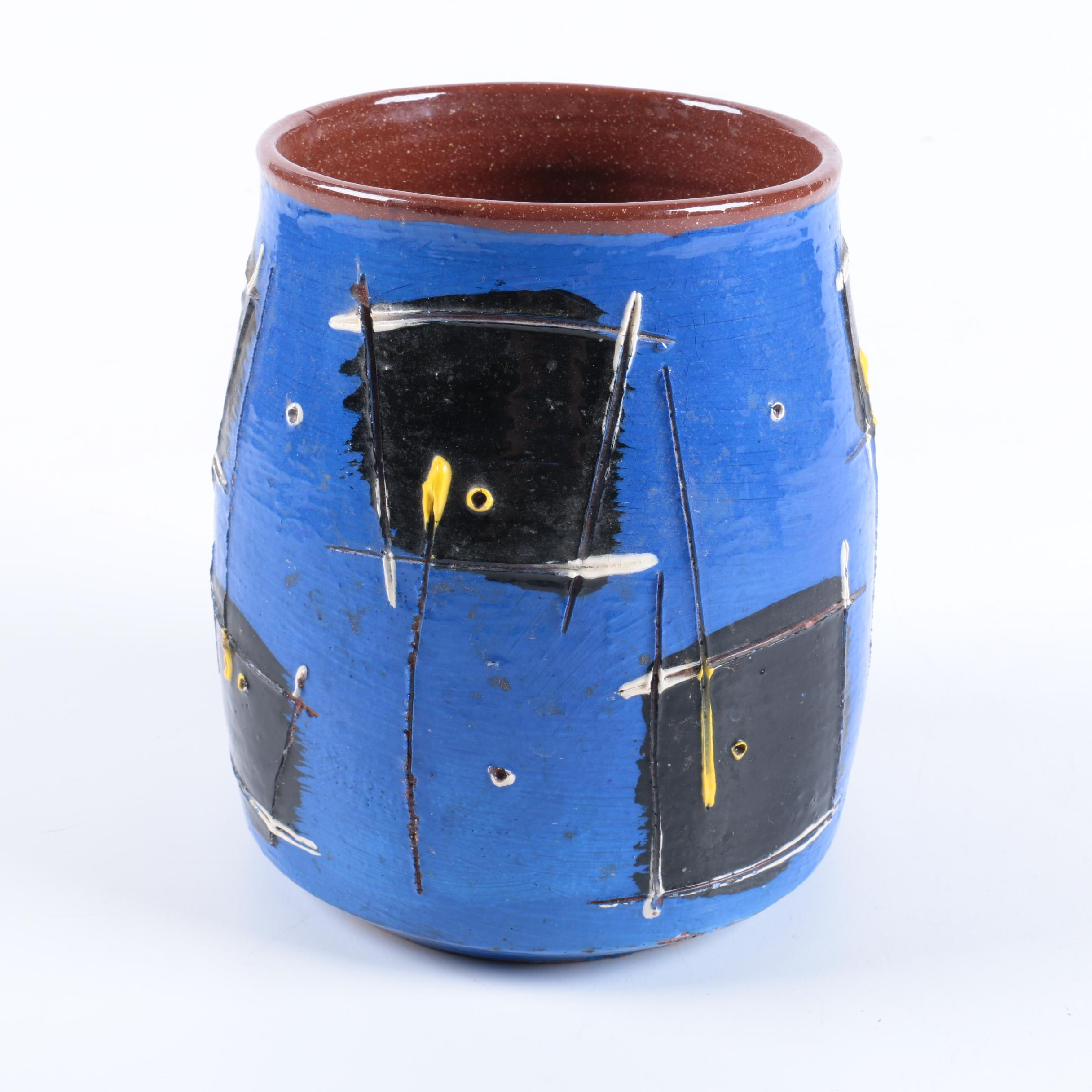 Signed Hand Thrown Abstract Earthenware Crock