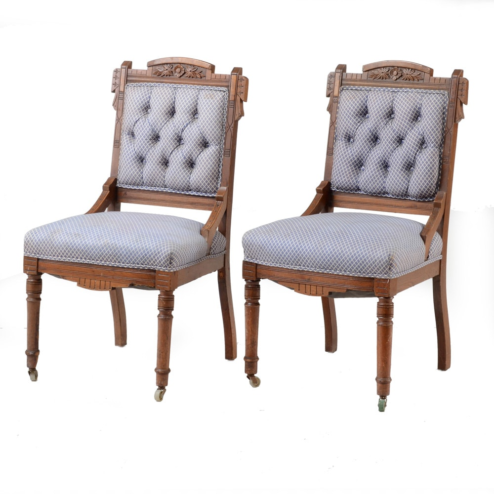 Antique Eastlake Upholstered Side Chairs