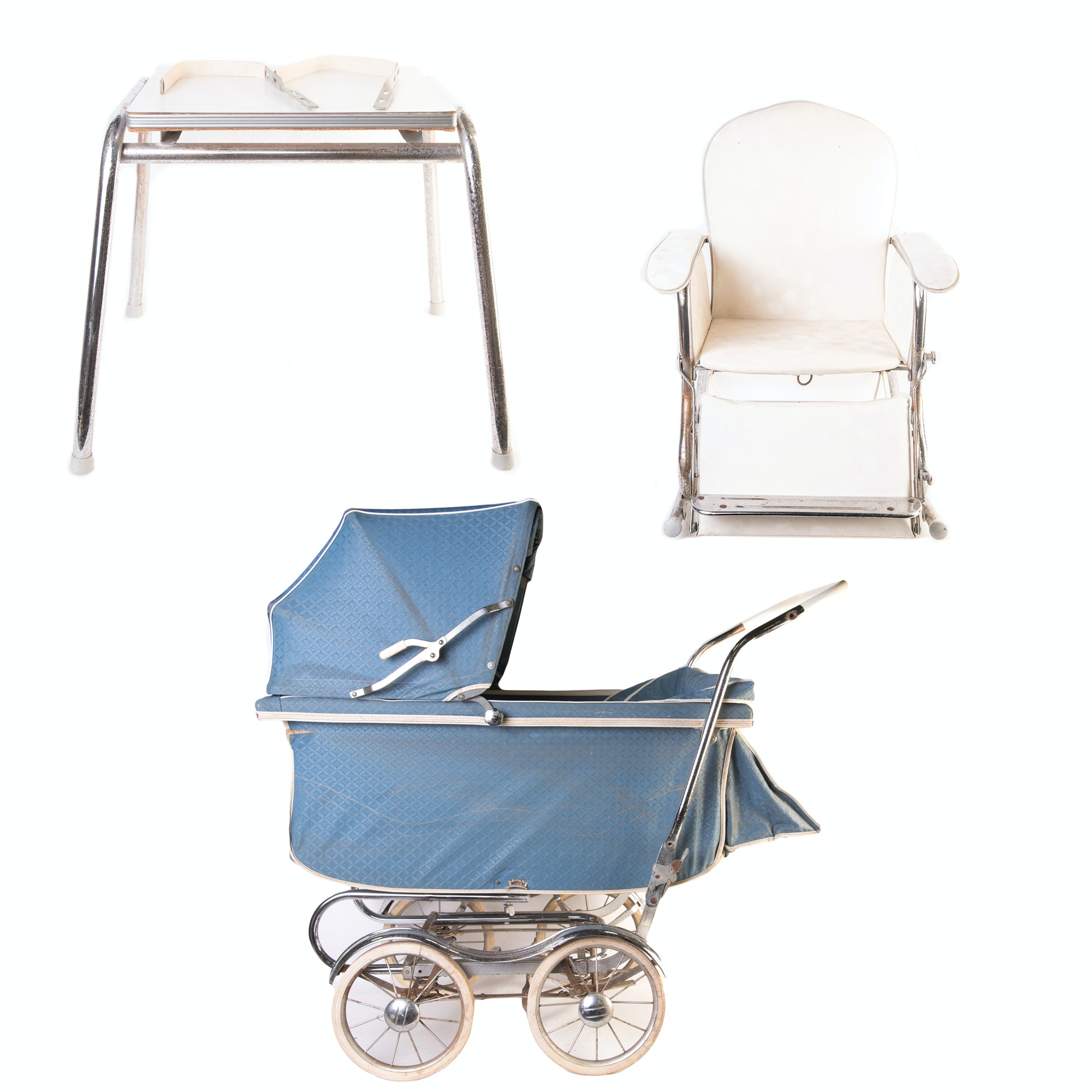 Vintage Decorative Stroll O Chair Baby Carriage, Rocker, Table Set