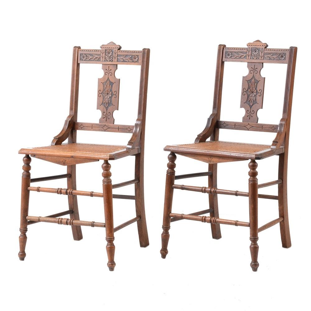 Victorian Eastlake Walnut Side Chairs