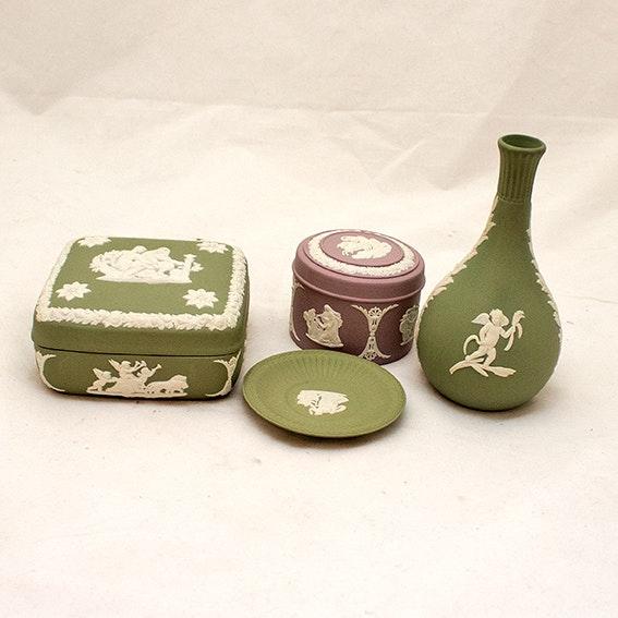 Wedgwood Jasperware Vase, Trinket Boxes and Miniature Display Plate