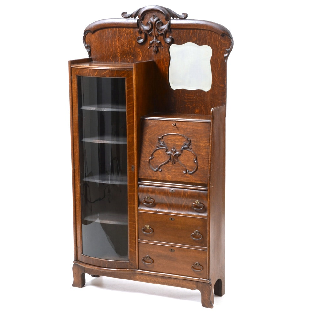 Antique Victorian Side-by-Side Secretary Cabinet