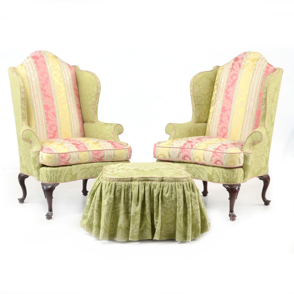 Queen Anne Style Upholstered Armchairs and Ottoman by Southwood
