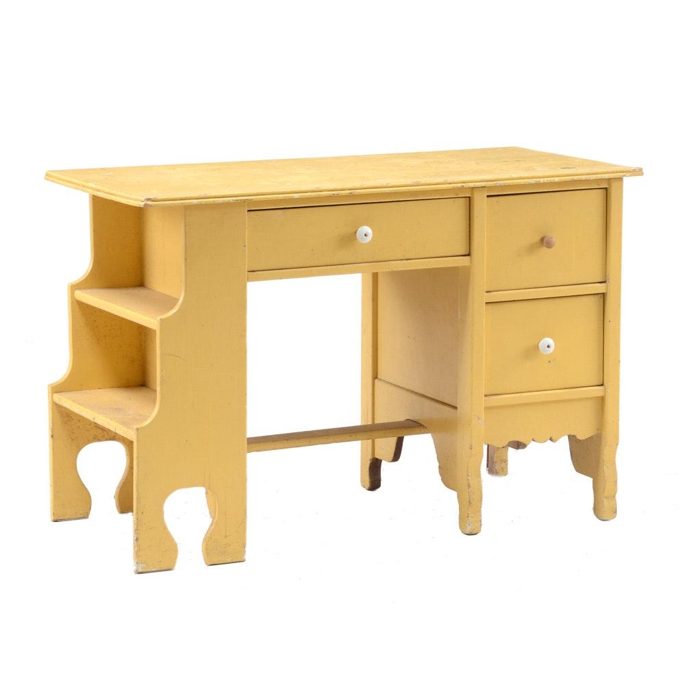 Mid-Century Painted Yellow Desk
