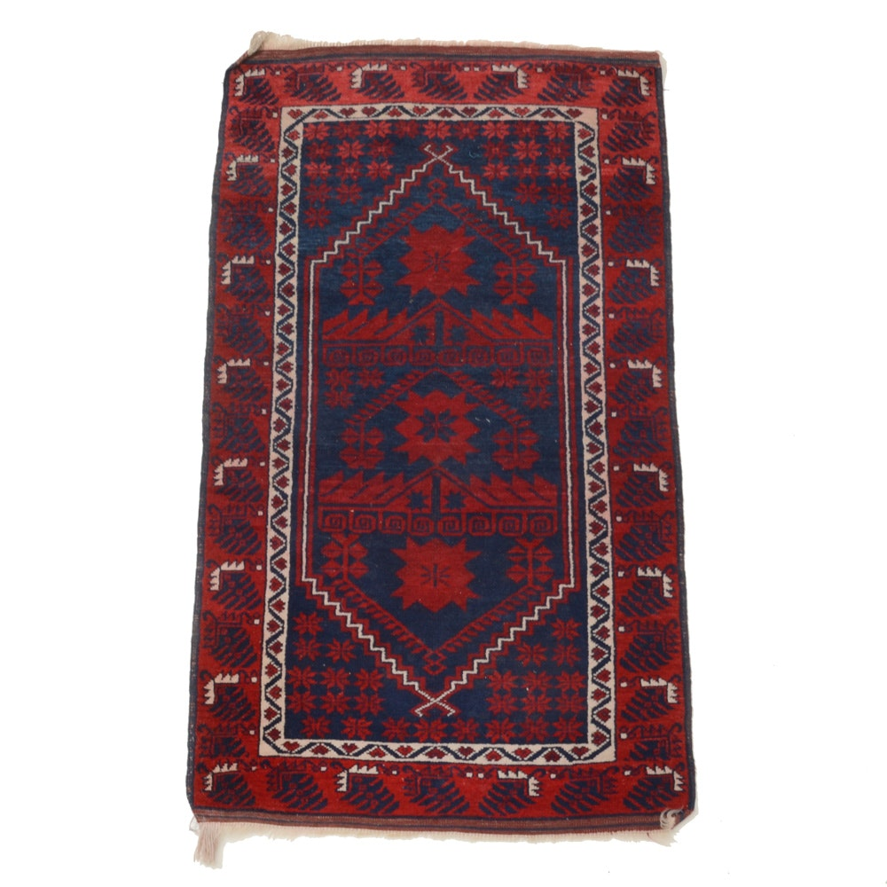 Hand-Knotted Arab Baluch Wool Accent Rug