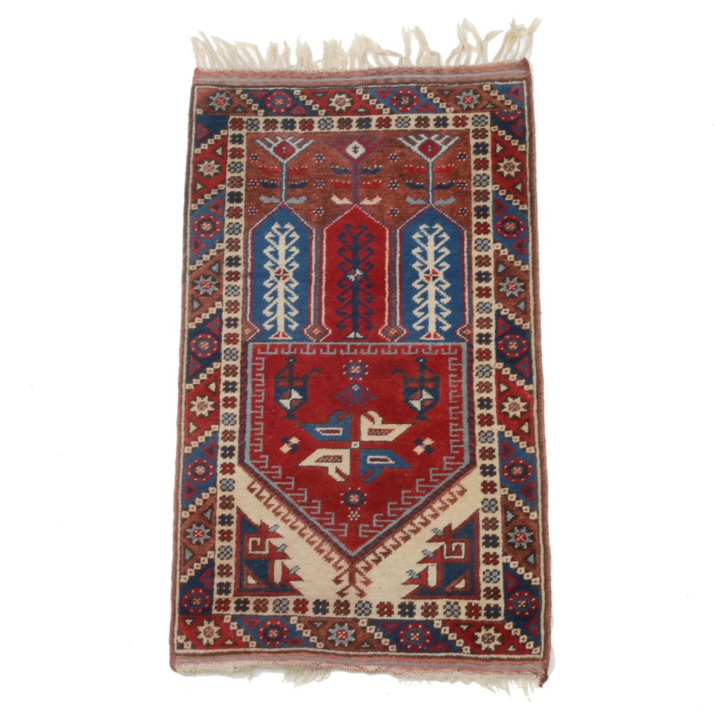 Vintage Hand-Knotted Anatolian Wool Prayer Rug