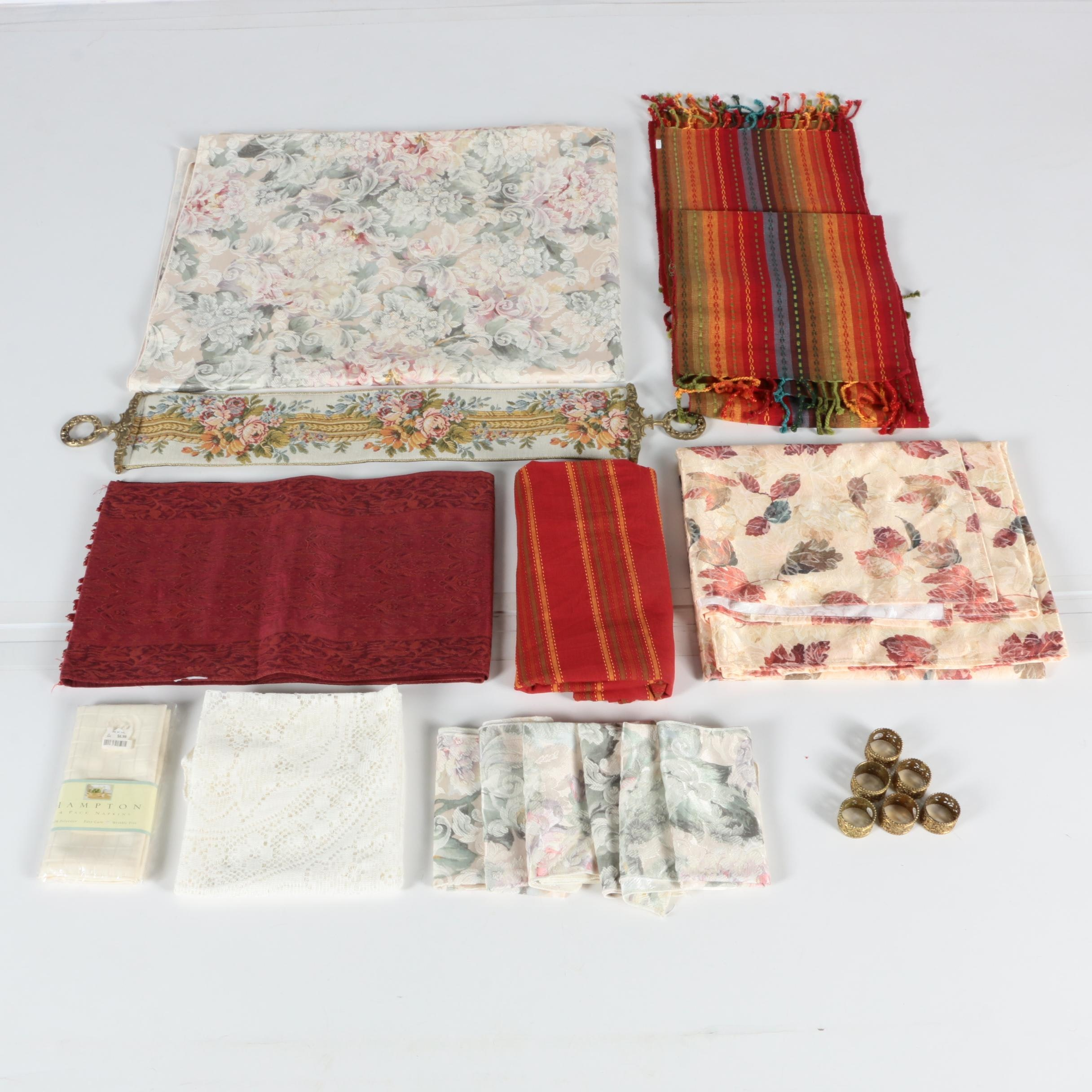 Table Linens And Brass Napkin Rings