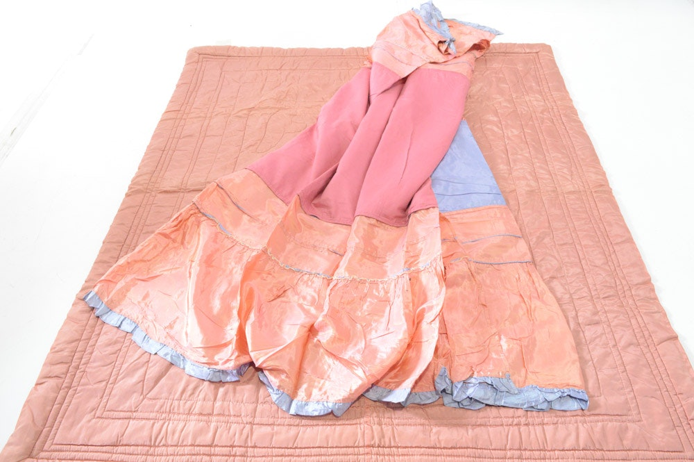Vintage Palmer Brothers Quilted Satin Comforter and Bed Skirt