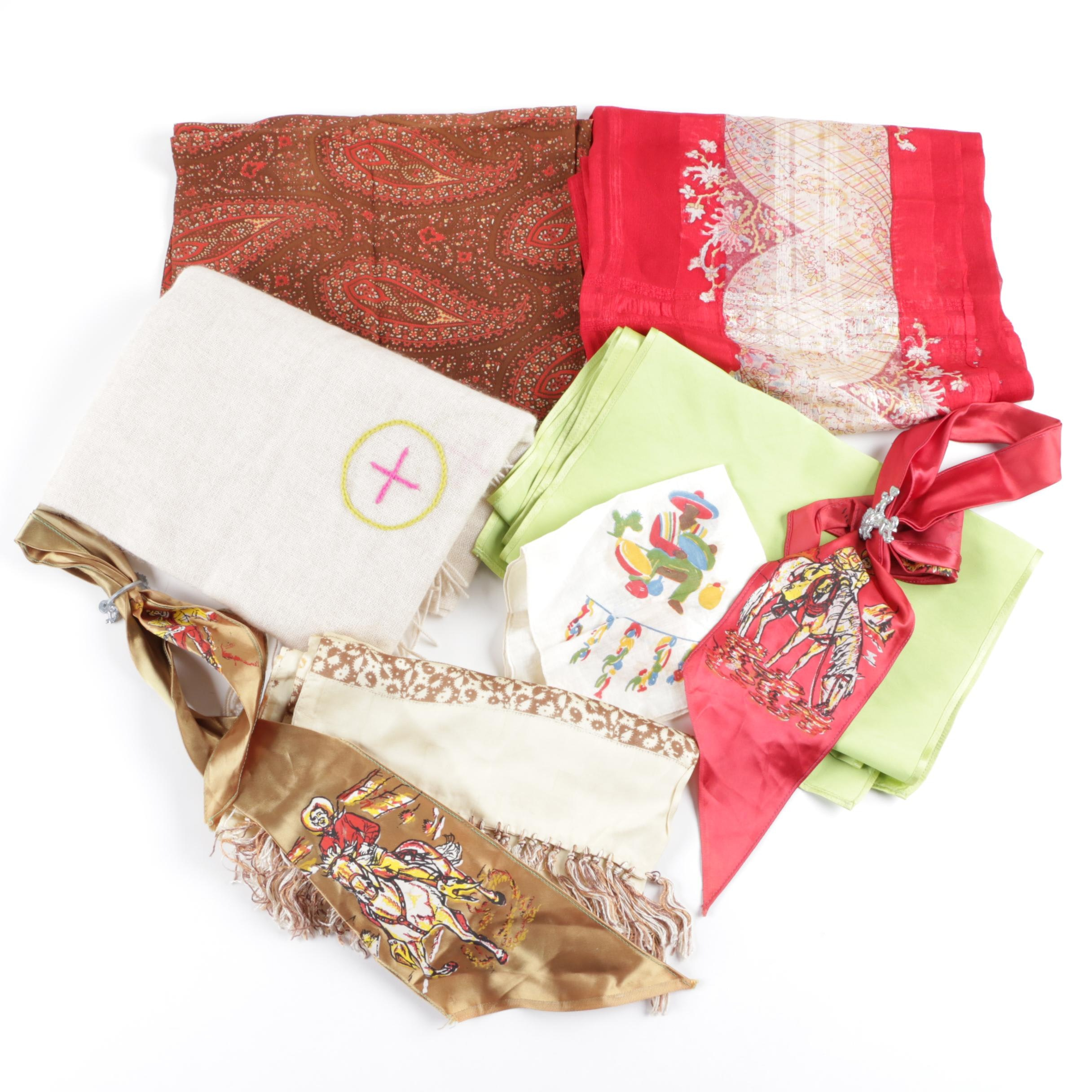 Vintage and Contemporary Fashion Scarves and Neckerchiefs Including Fibre Tibet