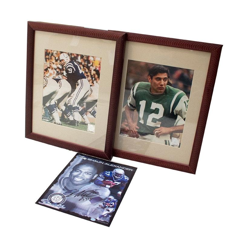 Joe Namath and John Unitas Framed Photo Files and Signed Shaun Alexander Card
