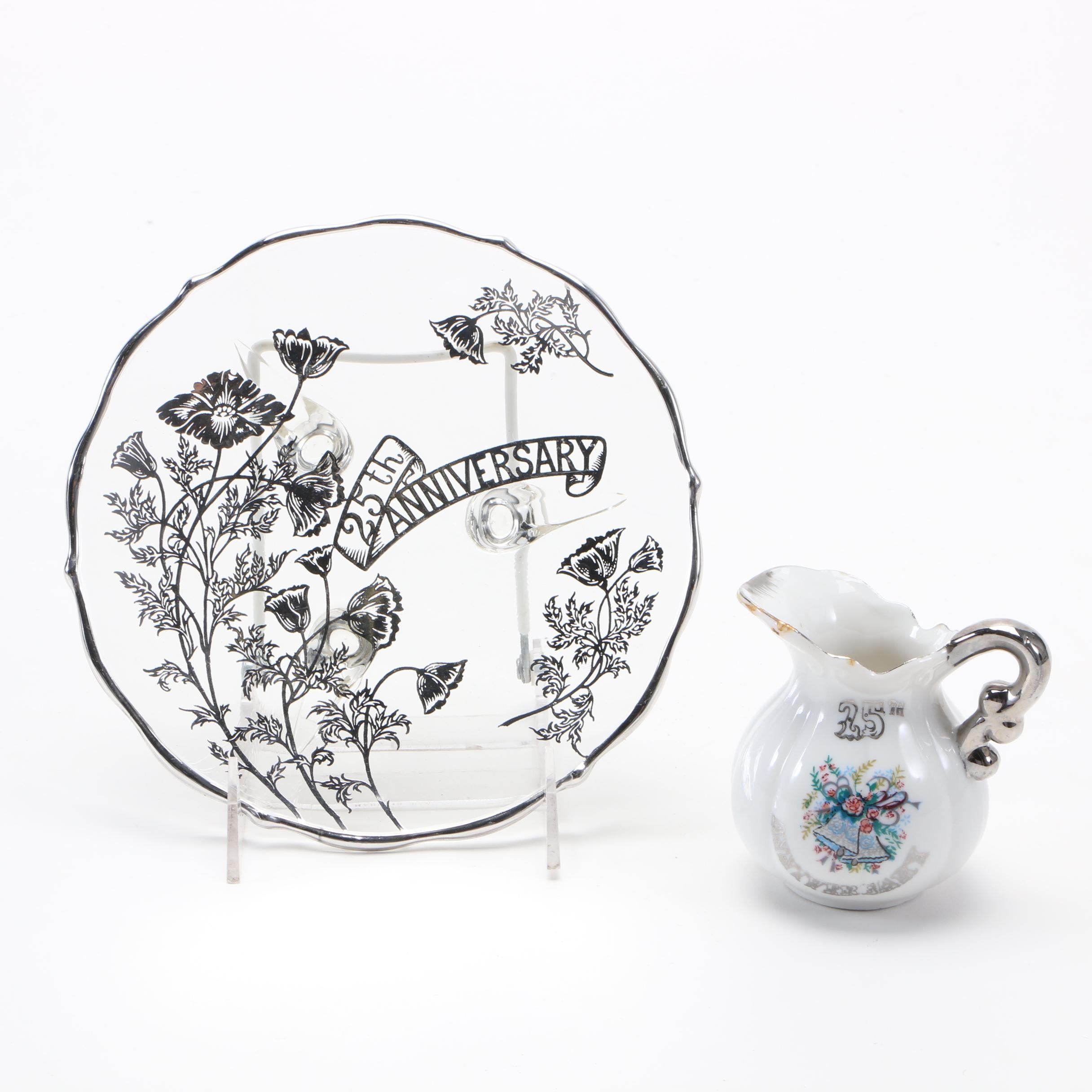 Assortment of 25th Anniversary Tableware