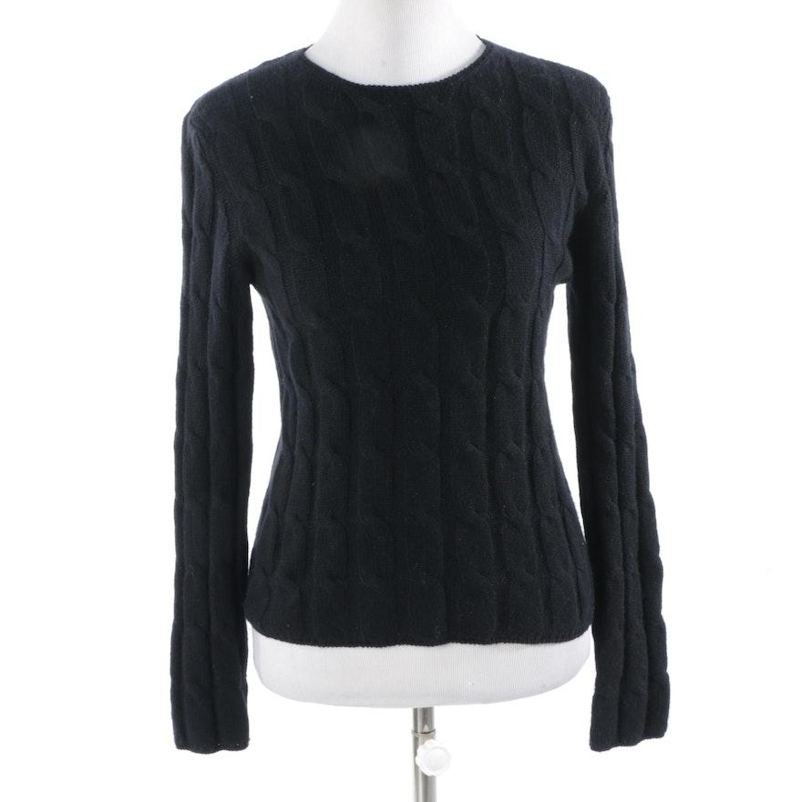 Women s TSE Cashmere Black Cable Knit Sweater   EBTH 80c89d001