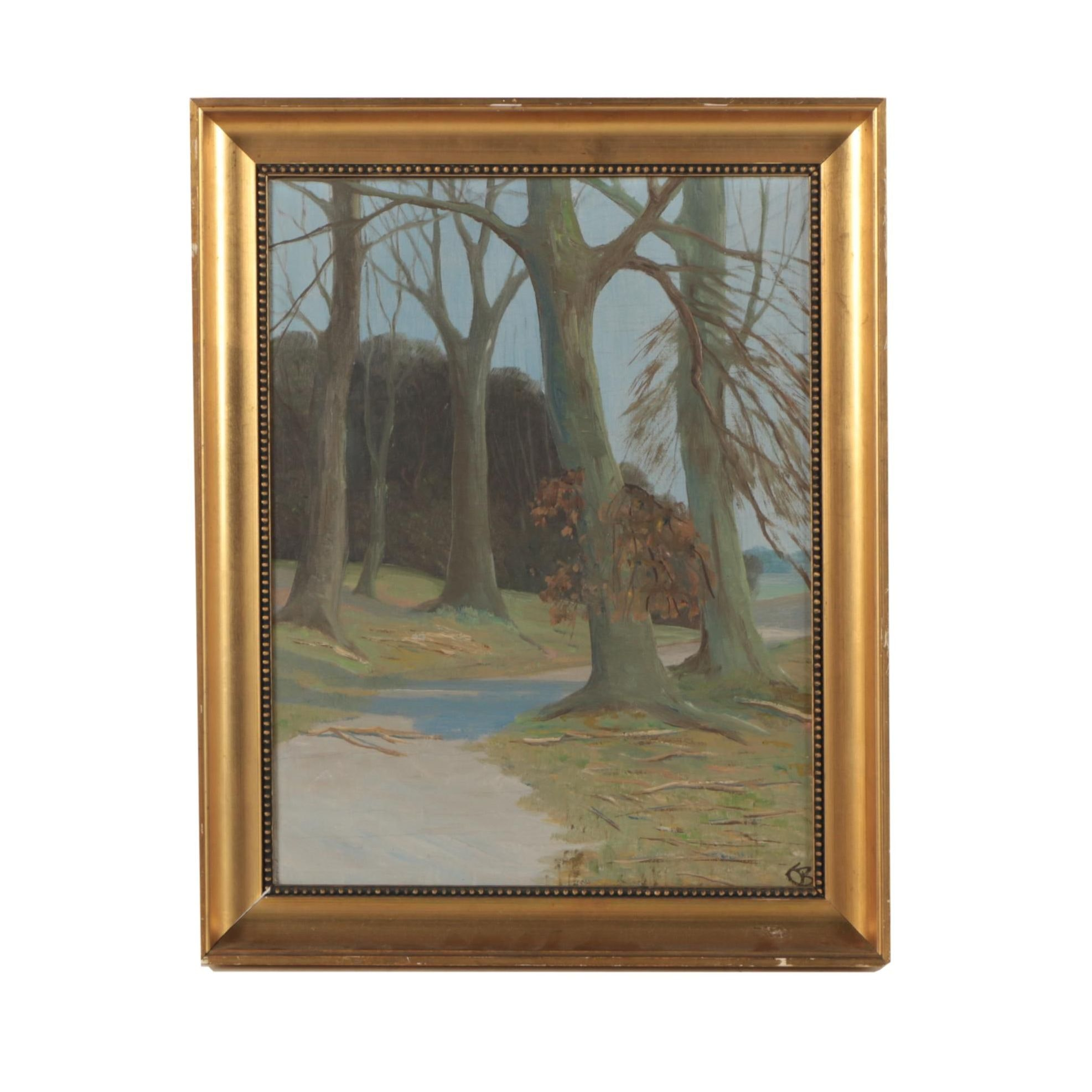 Oil Painting of Path Through the Woods